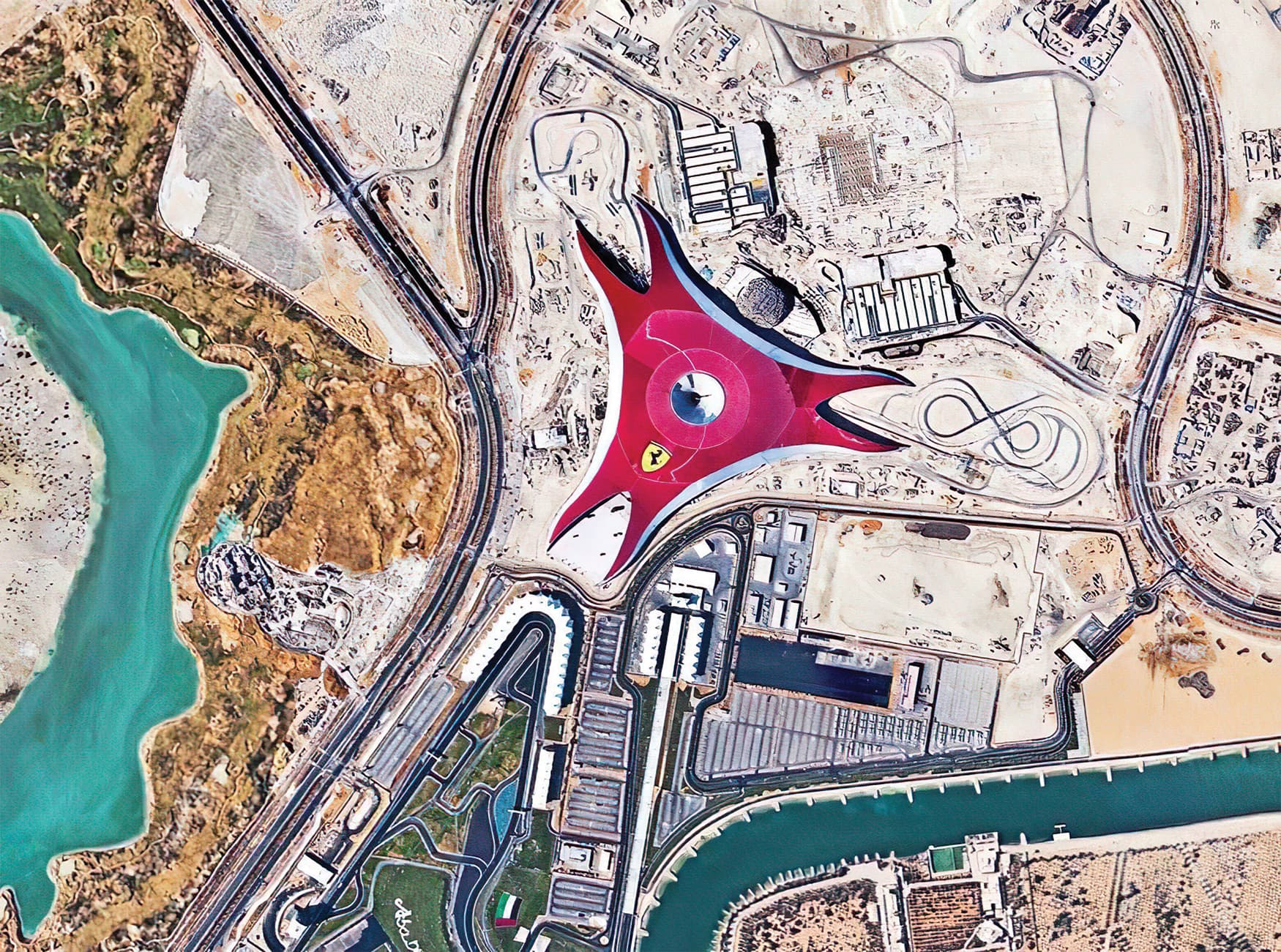 Ferrari World in Abu Dhabi in the United Arab Emirates. Aerial View of the Largest Indoor Theme Park.