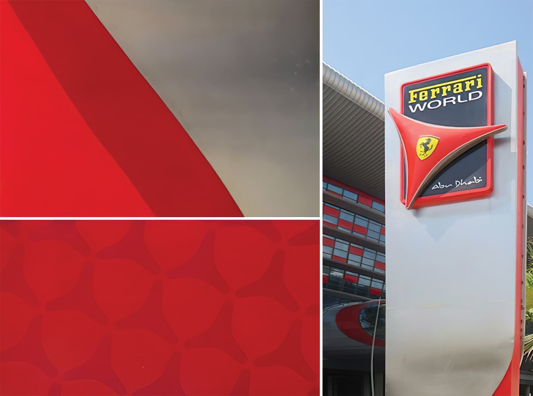 Ferrari World in Abu Dhabi in the United Arab Emirates. Project Identity Totem.