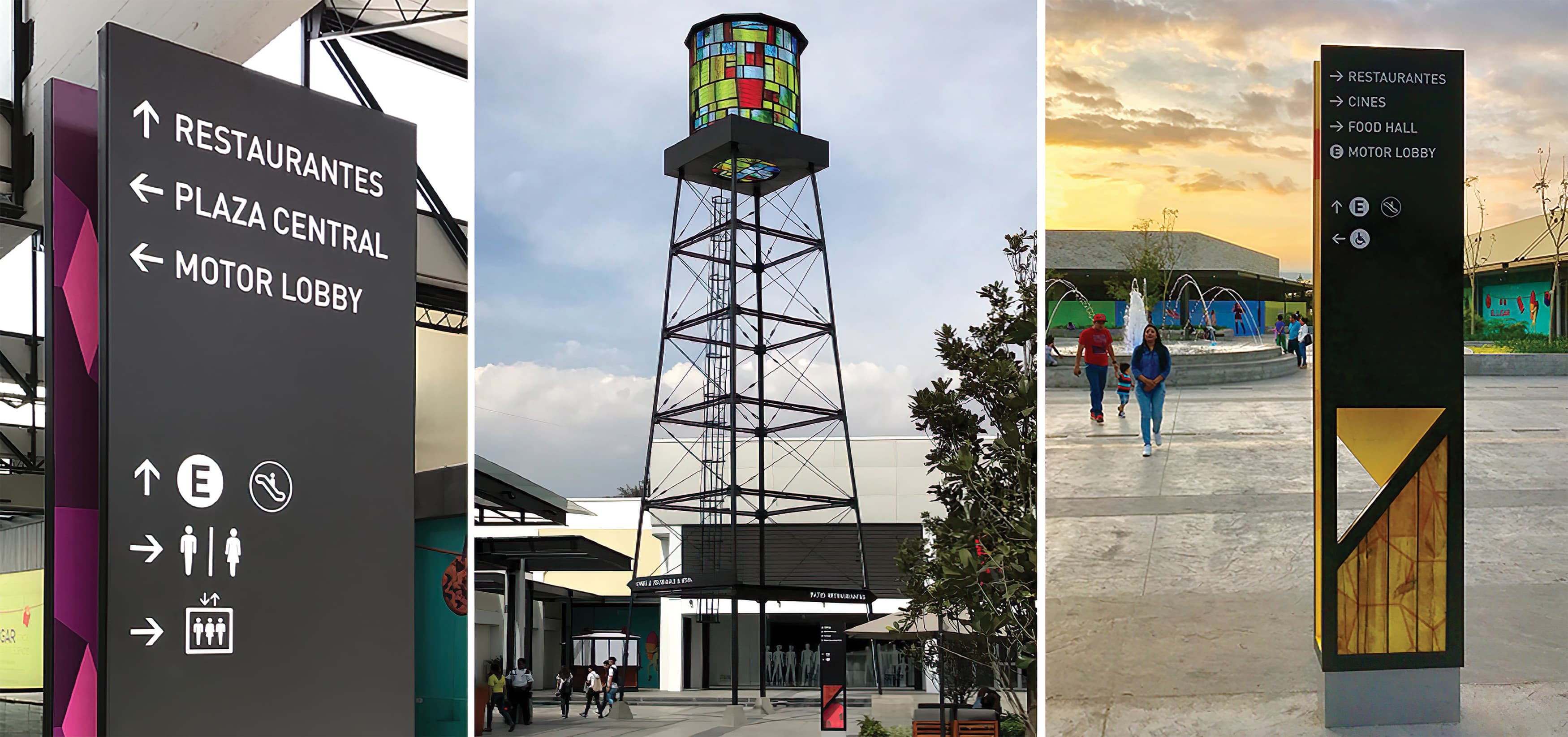 Forum Cuernavaca, a retail and mixed-use project in Cuernavaca, Mexico, flaunts colorfully-creative wayfinding design and specialty placemaking pieces.