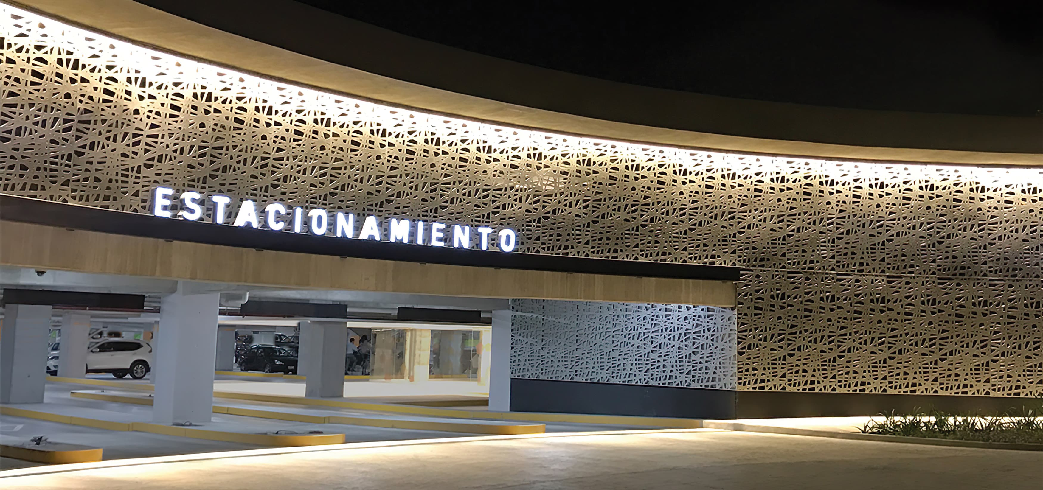 Forum Cuernavaca, a retail and mixed-use project in Cuernavaca, Mexico, parking identity signage