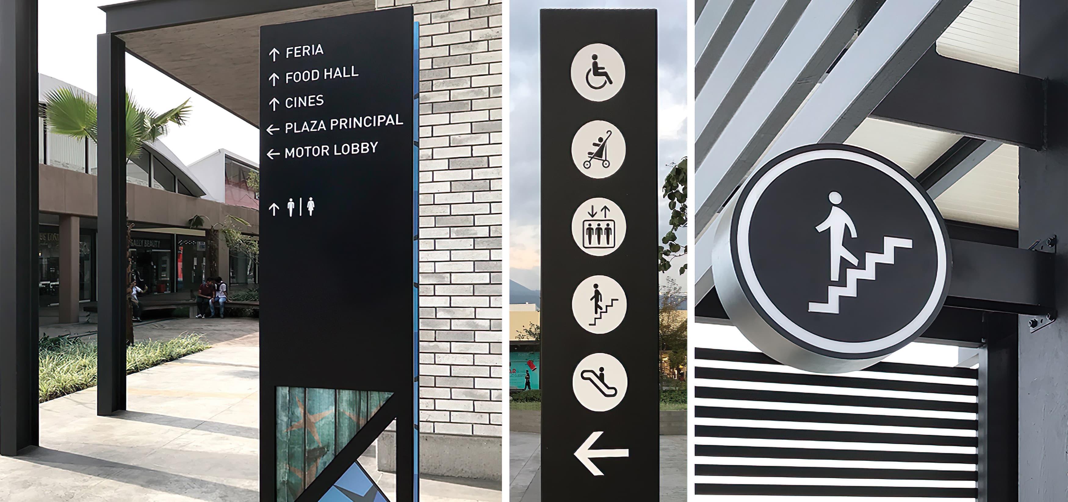 Forum Cuernavaca, a retail and mixed-use project in Cuernavaca, Mexico, pedestrian wayfinding design and icons