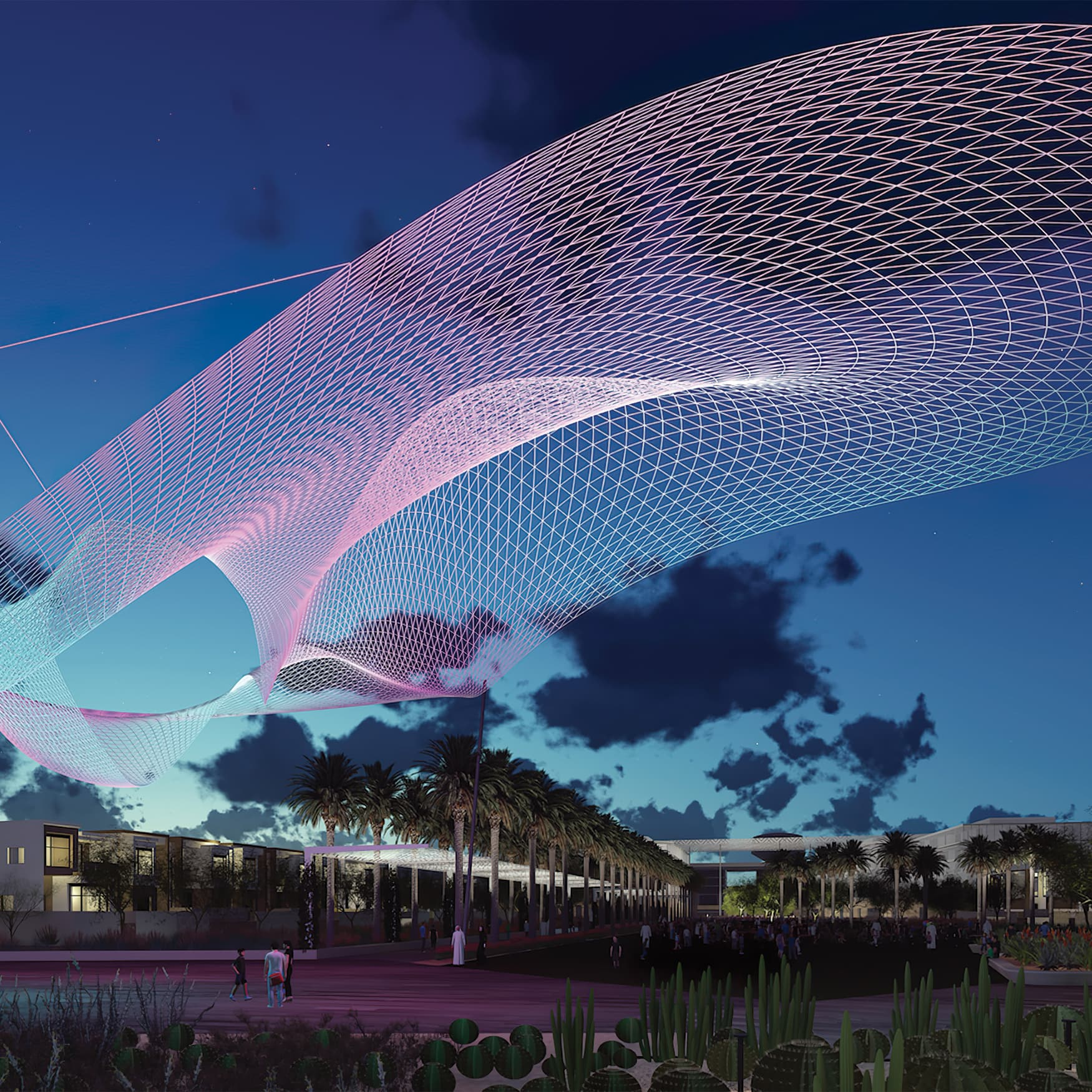 Al Raffah project at night with art installation flowing overhead
