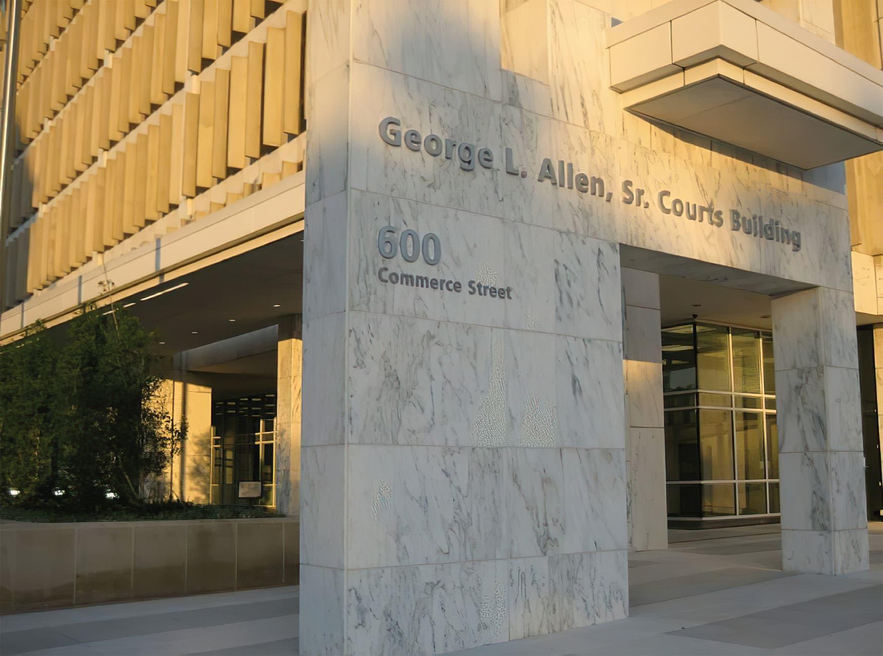 George L. Allen Sr. Courts Building. Civic Design, Workplace Design. Dallas, Texas. Fascia Signage.