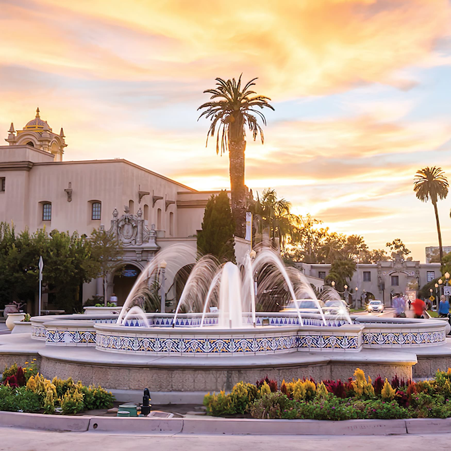 A photograph of a beautiful fountain located in Balboa Park.