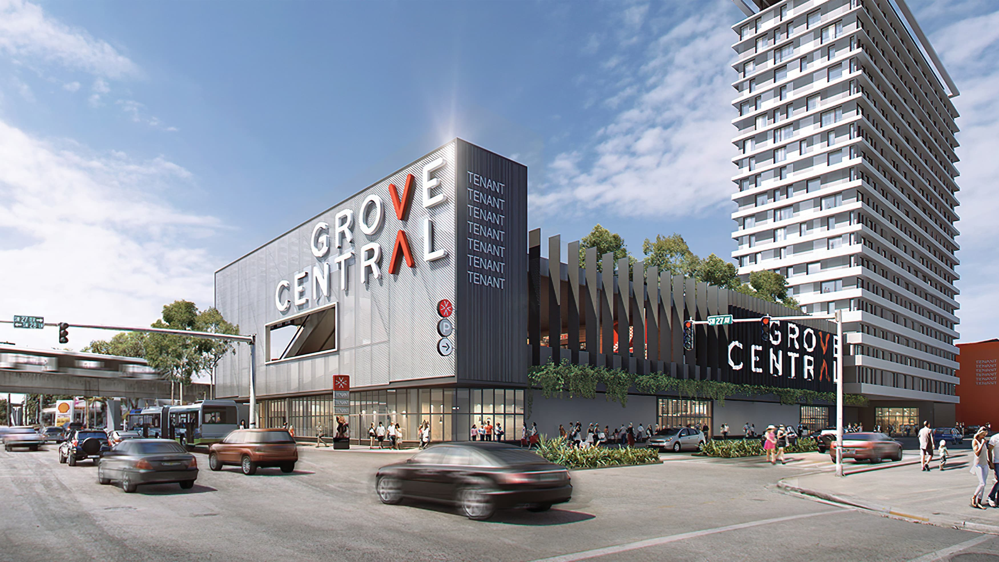 A rendering of architecture featuring large, bold identity signage.