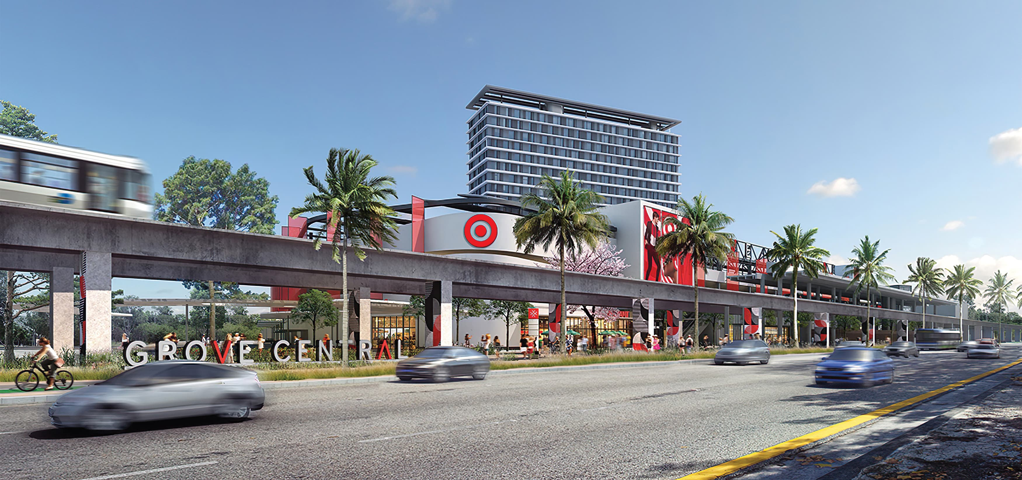 Grove Central, a mixed-use, retail project located in Coconut Grove, Florida. RSM Design. Environmental Graphic Design, Wayfinding Signage, Placemaking, Graphic Architecture.
