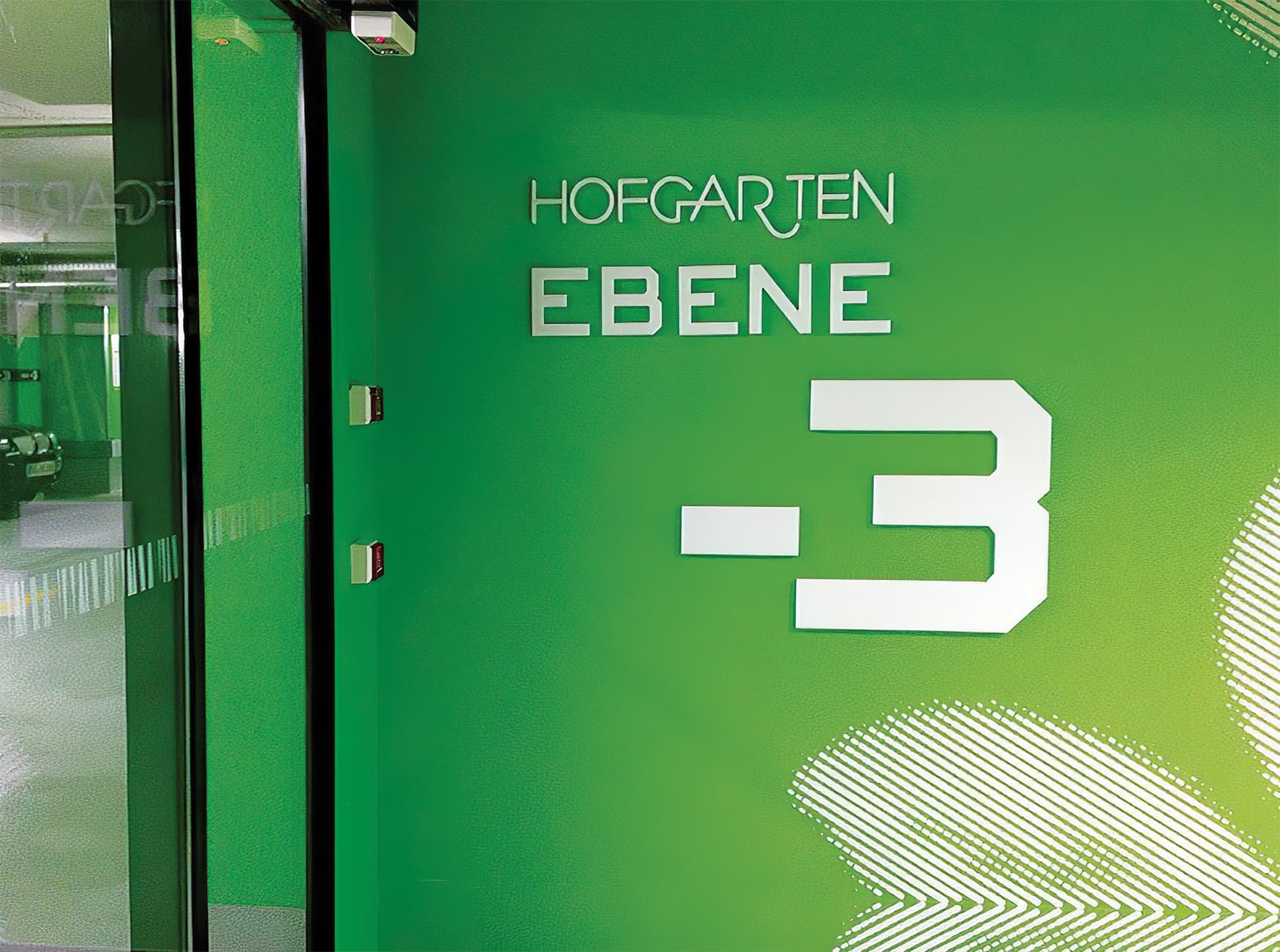 Hofgarten, a retail project in Solingen Germany, environmental graphics and graphic wayfinding design