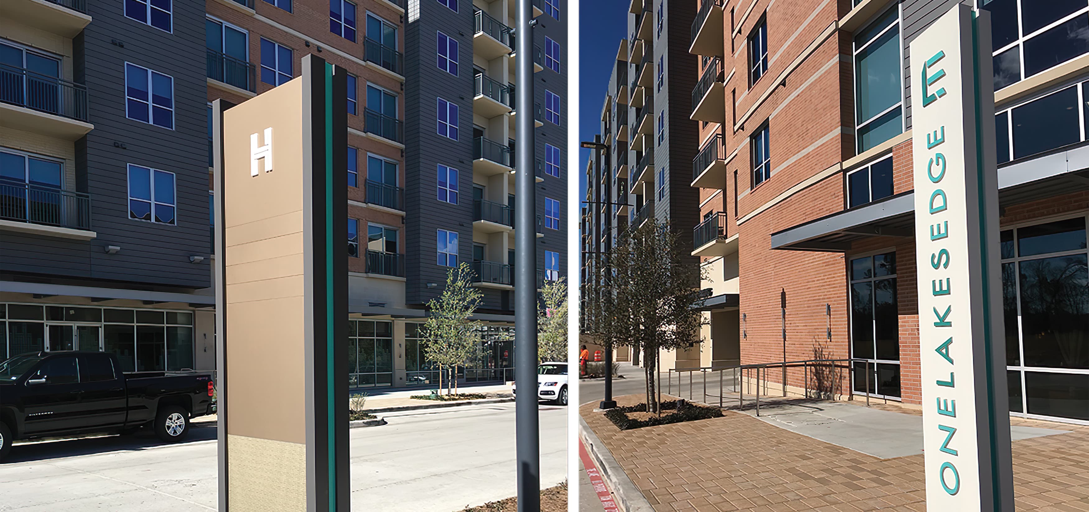 Hughes Landing, a mixed-use development in  The Woodlands, Texas. Project Identity Signage.