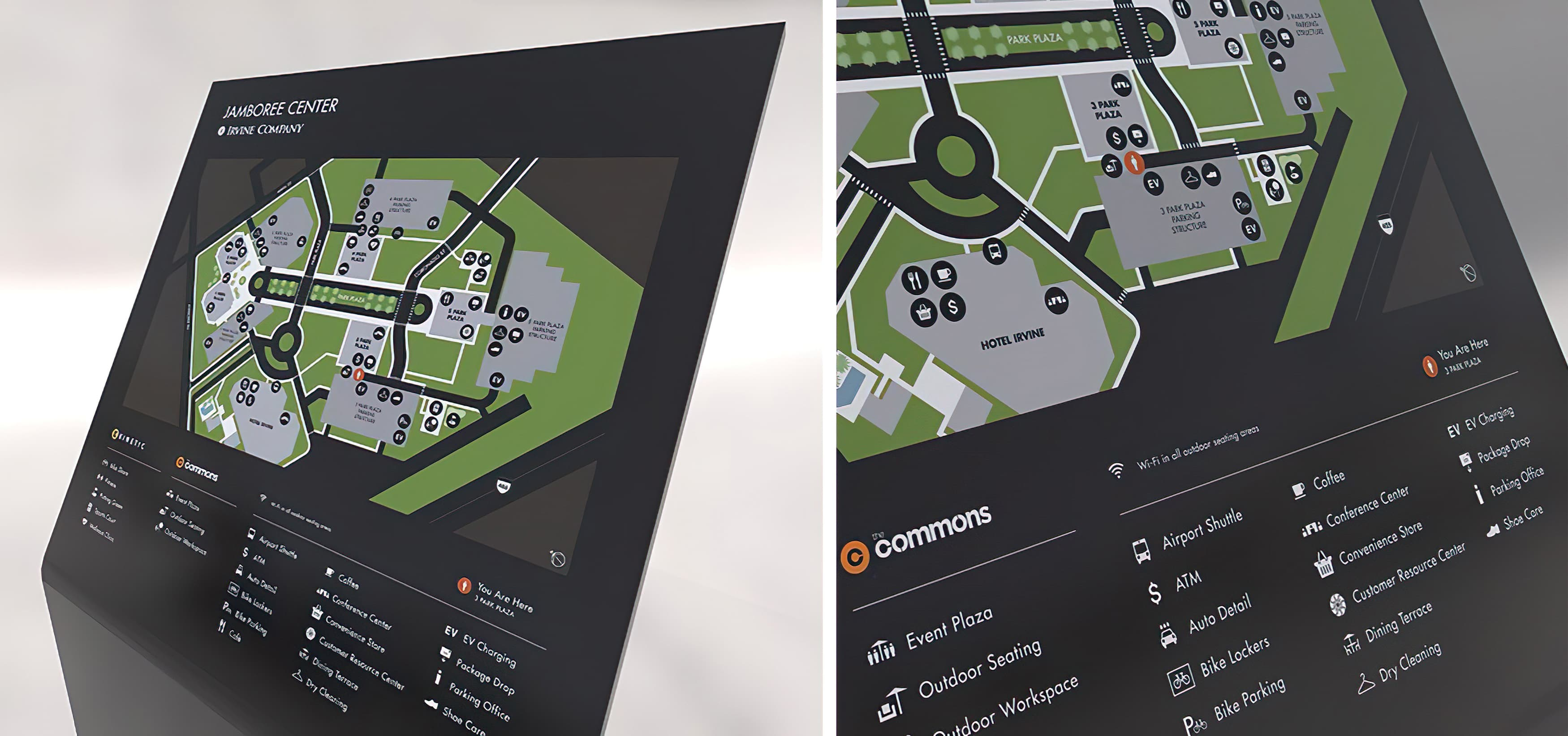 1 Park Plaza, an Irvine Company workplace, campus map design.