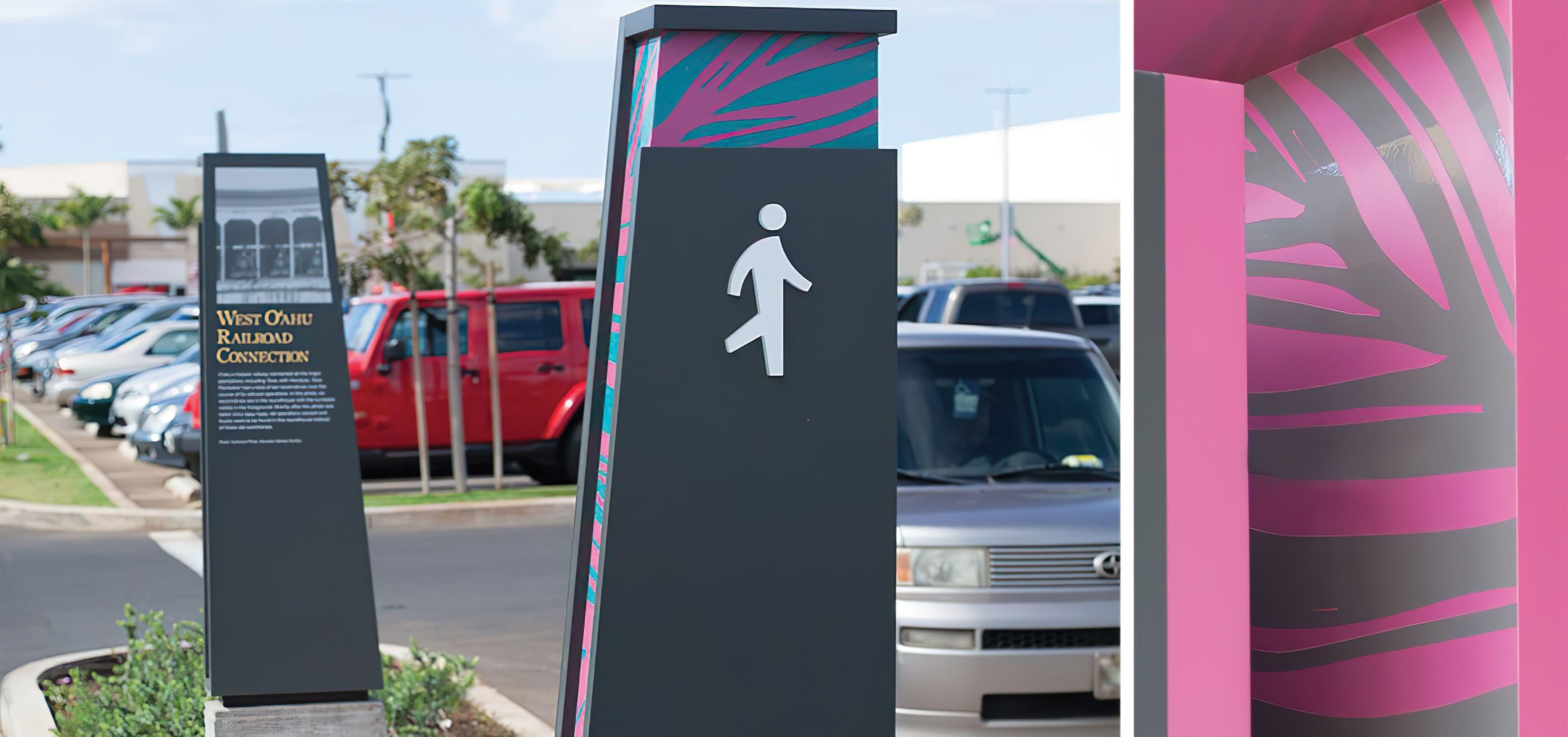 Ka Makana Ali'i, a shopping center outside Honolulu, Hawaii. RSM Design. Signage and Wayfinding Design. Pedestrian Wayfinding.
