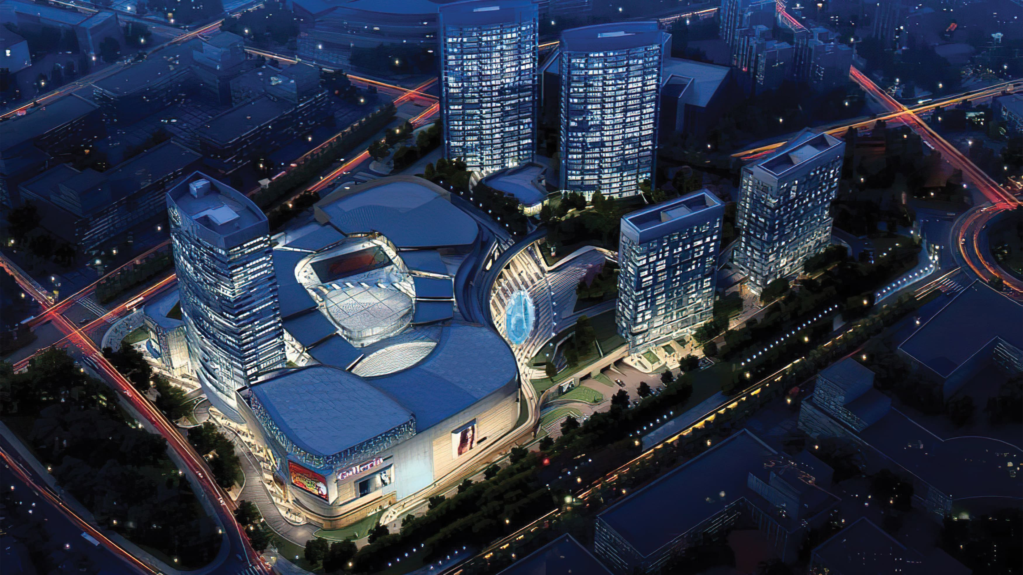 A night-time rendering of the Kardan Land Europark project
