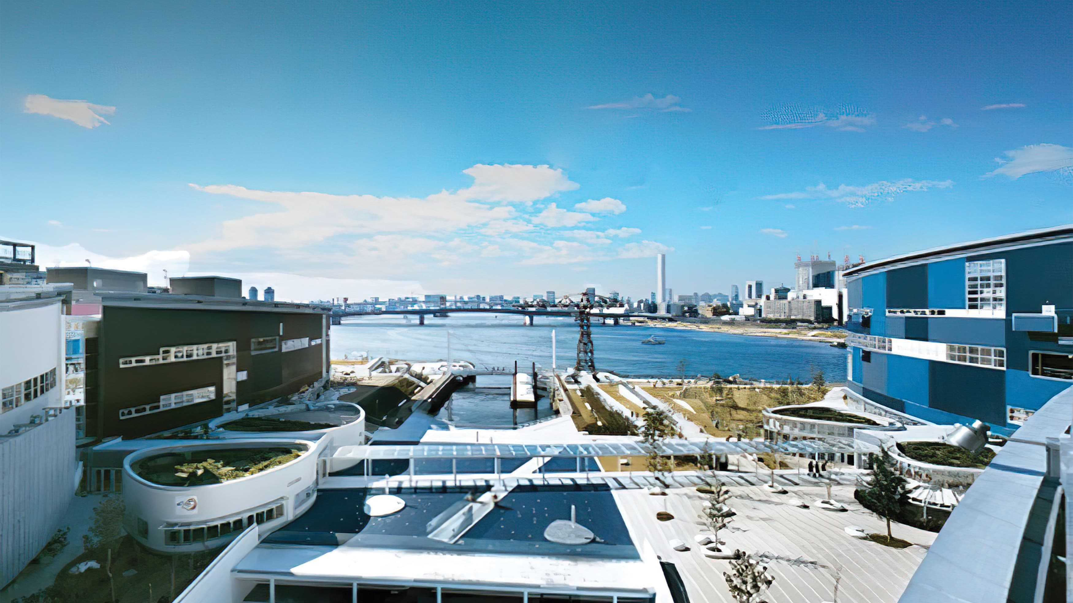 A photograph of the Lalaport Toyosu's modern architecture