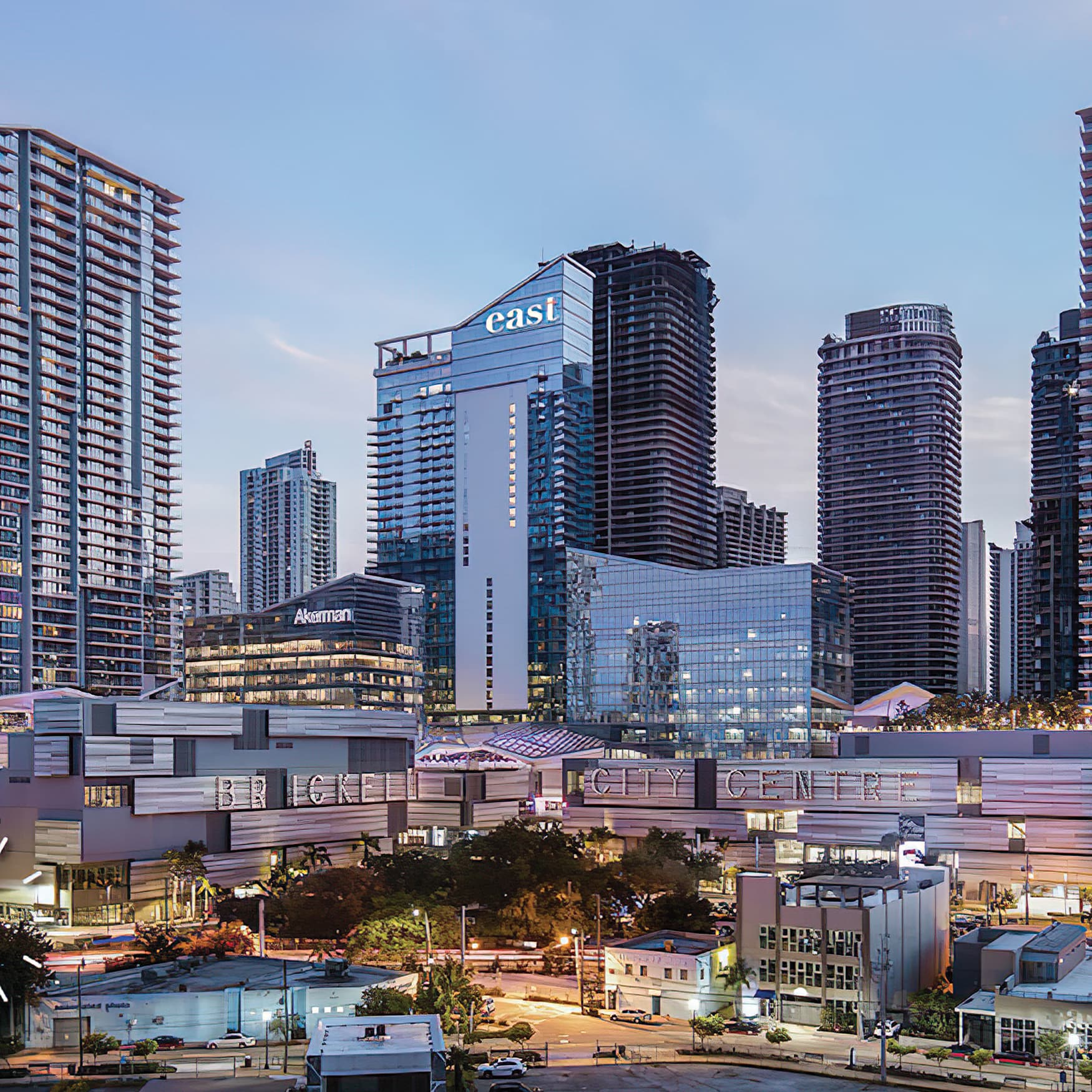 An image showing the urban context the Brickell City Center is located in.
