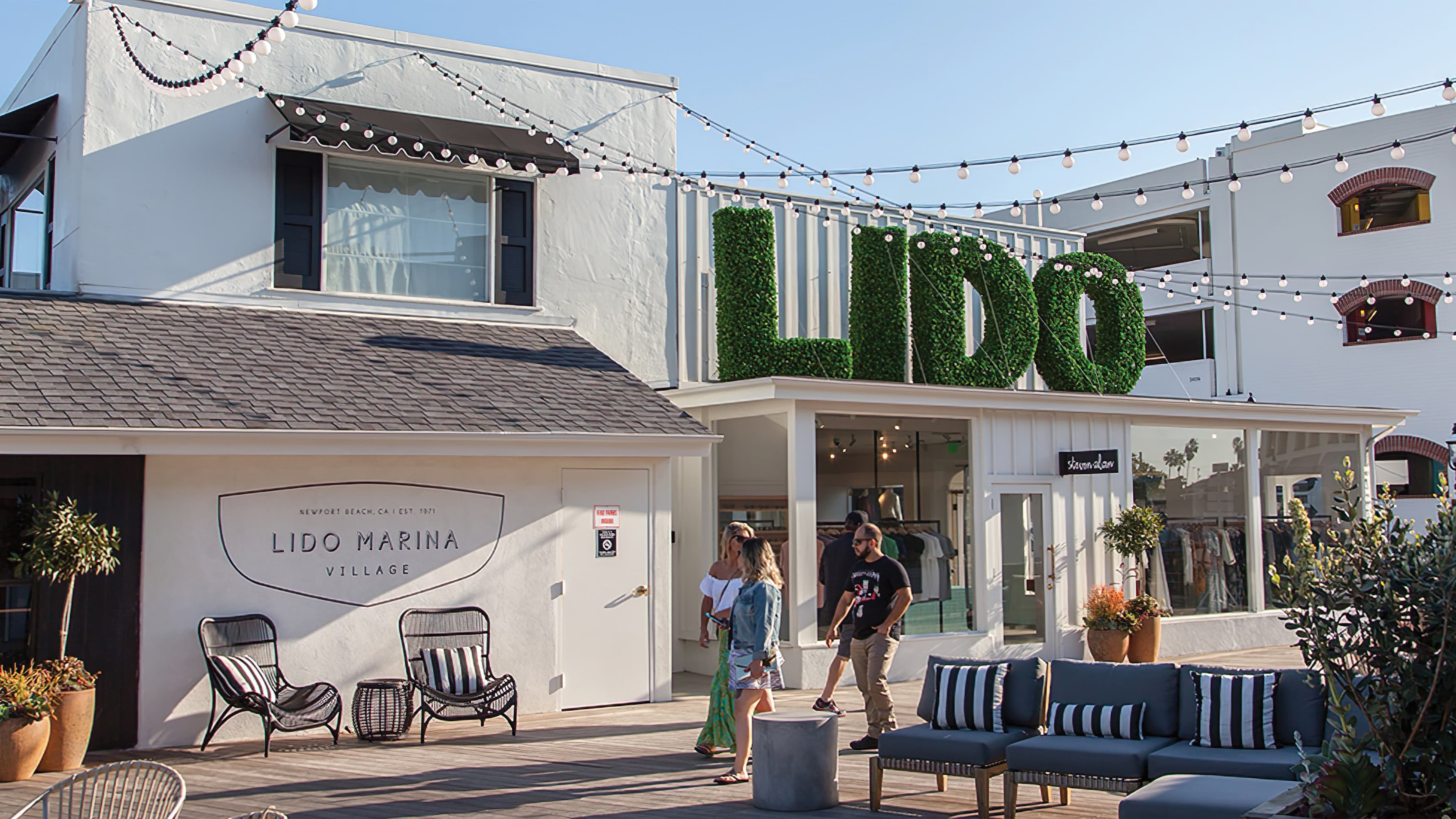 A photo showing an identity sign at Lido Marina Village.