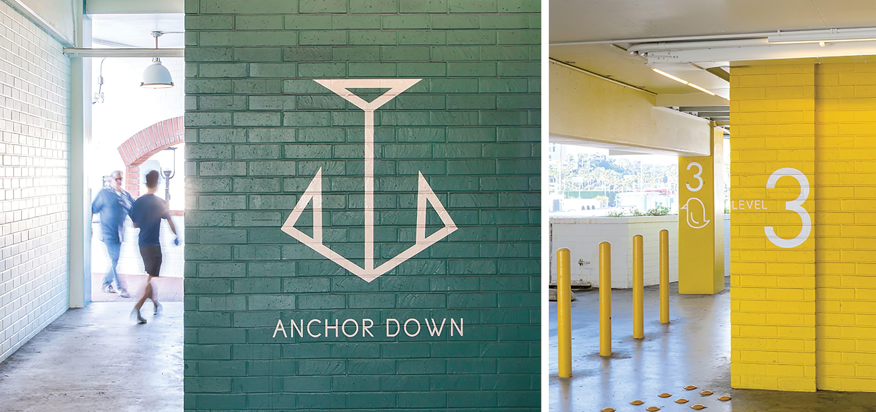 Lido Marina Village Newport Beach graphic architectural design parking garage