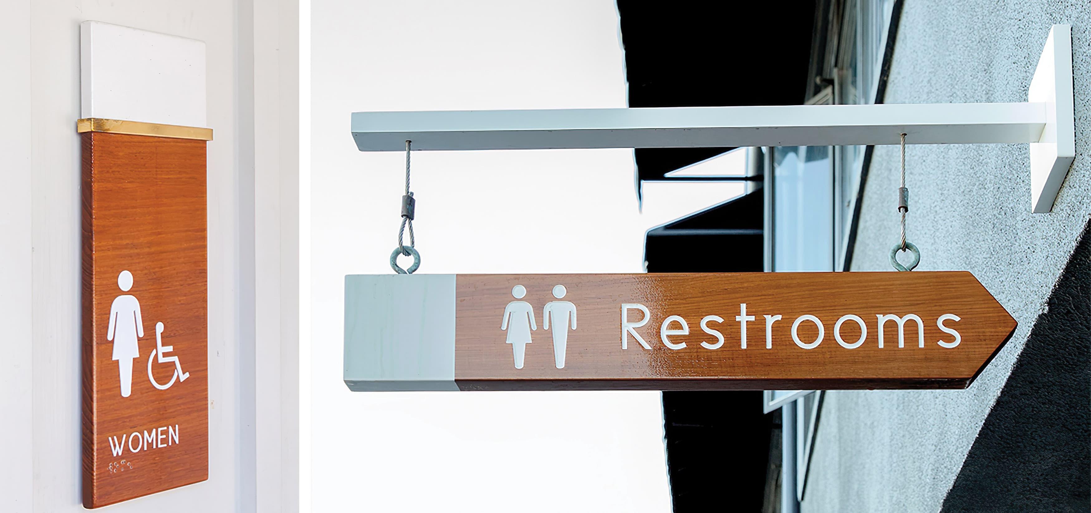 Lido Marina Village Newport Beach pedestrian wayfinding design and restroom signage