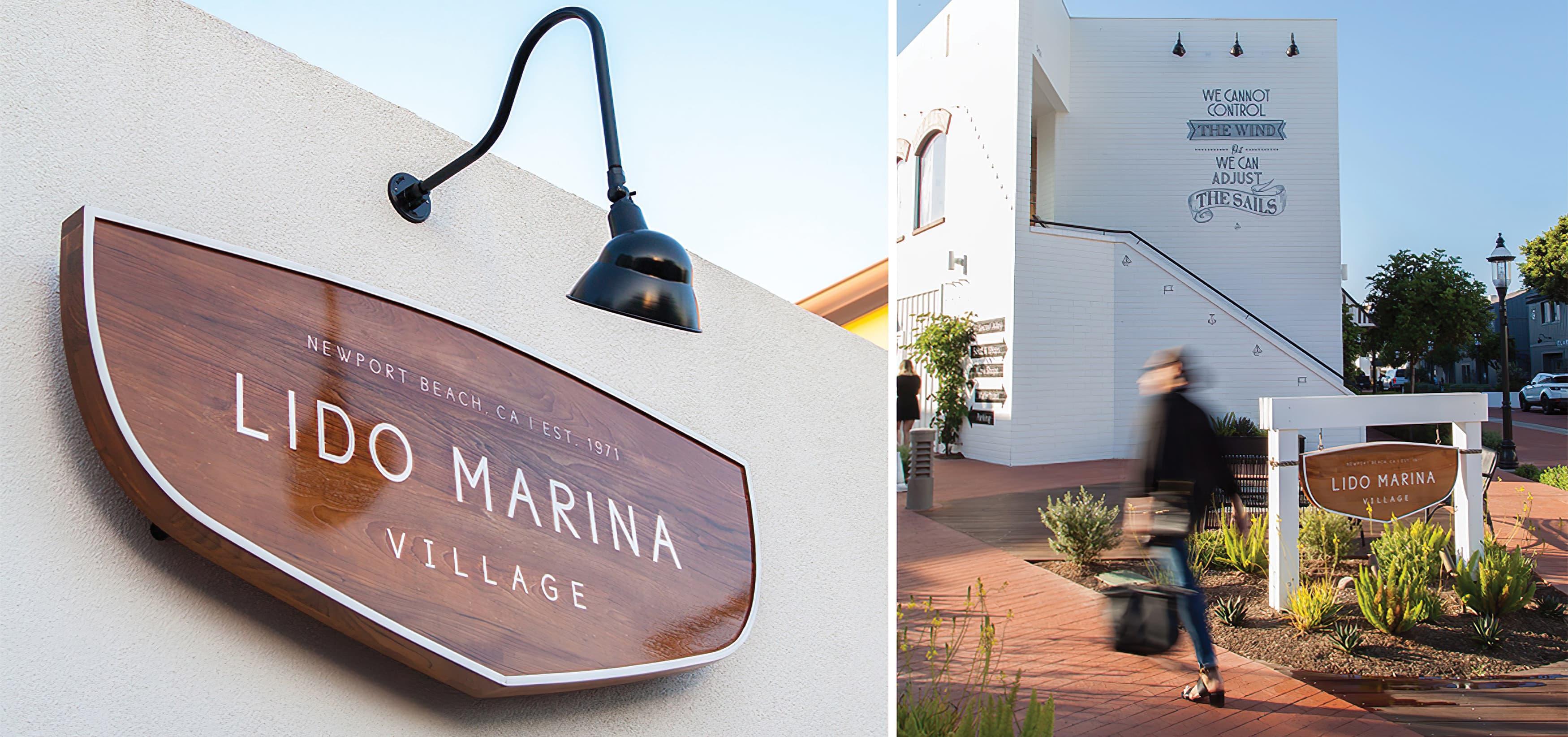 Lido Marina Village Newport Beach wooden project identity sign