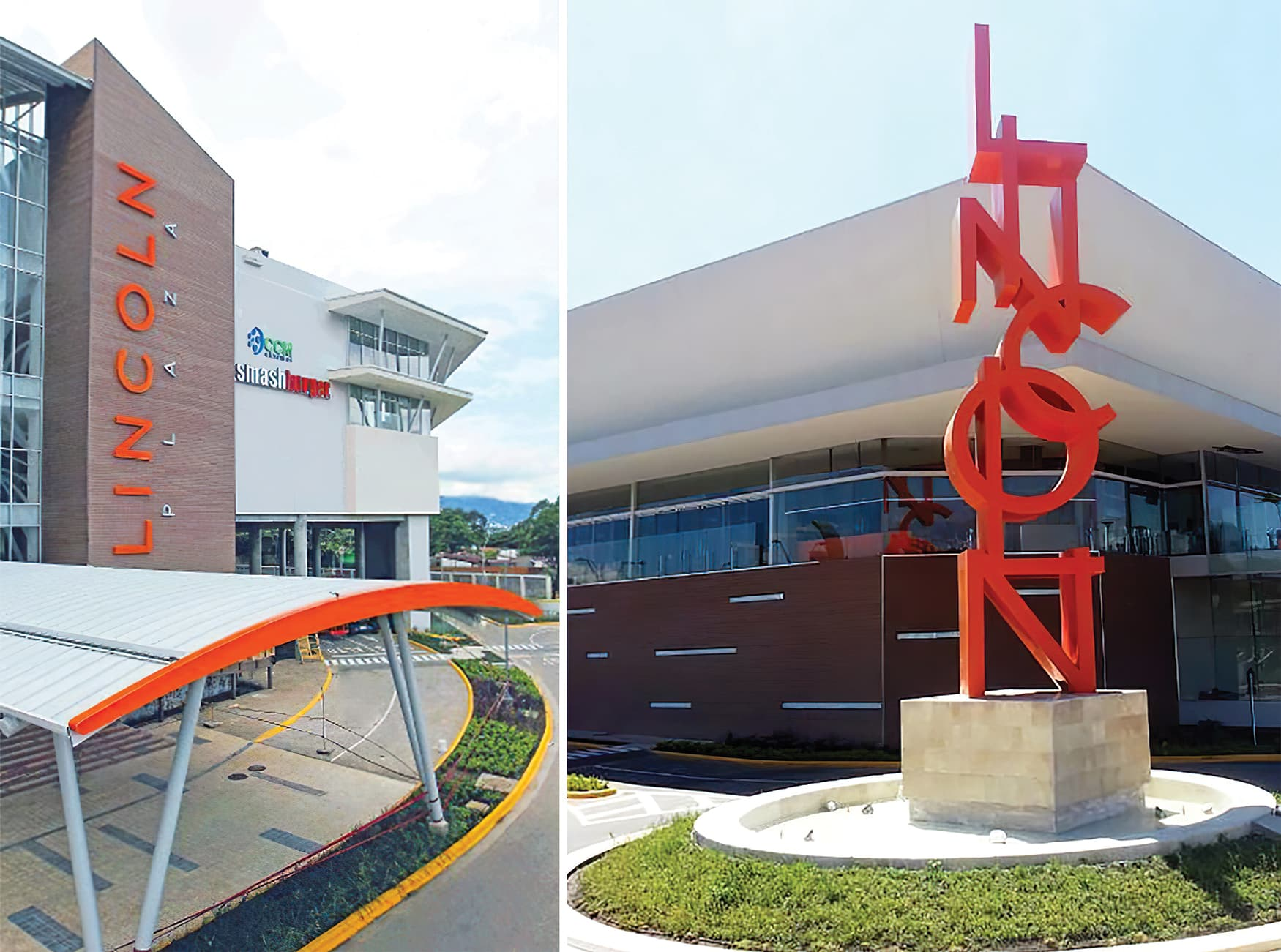 Lincoln Plaza, a retail destination in located in San Jose, Costa Rica. RSM Design brought environmental graphic design and architectural graphic design. Monument Signage. Project Identity.
