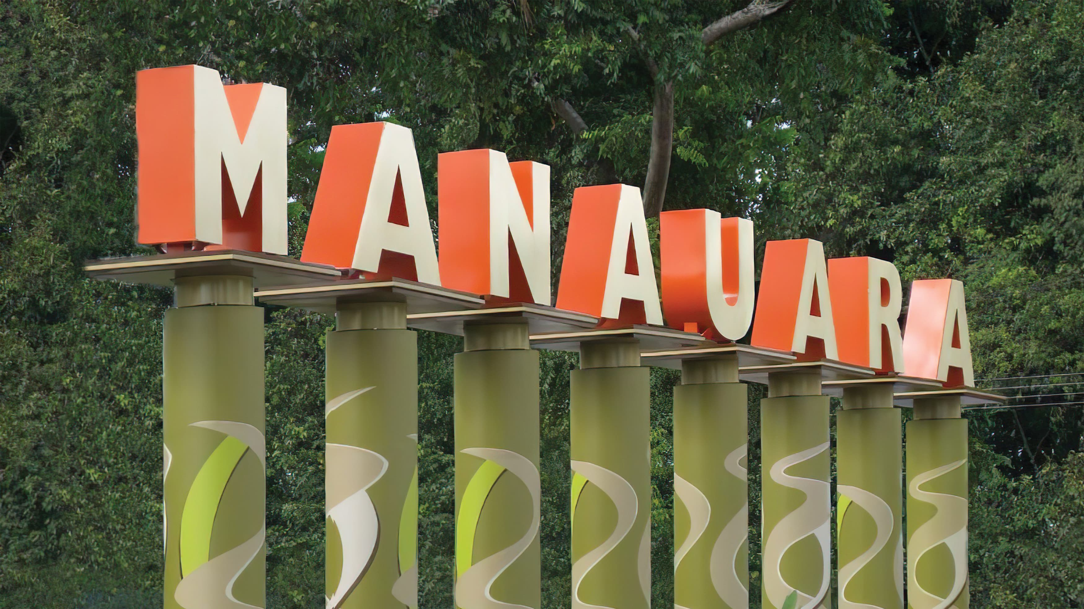 Manauara channel letters on individual pedestals integrated into landscape