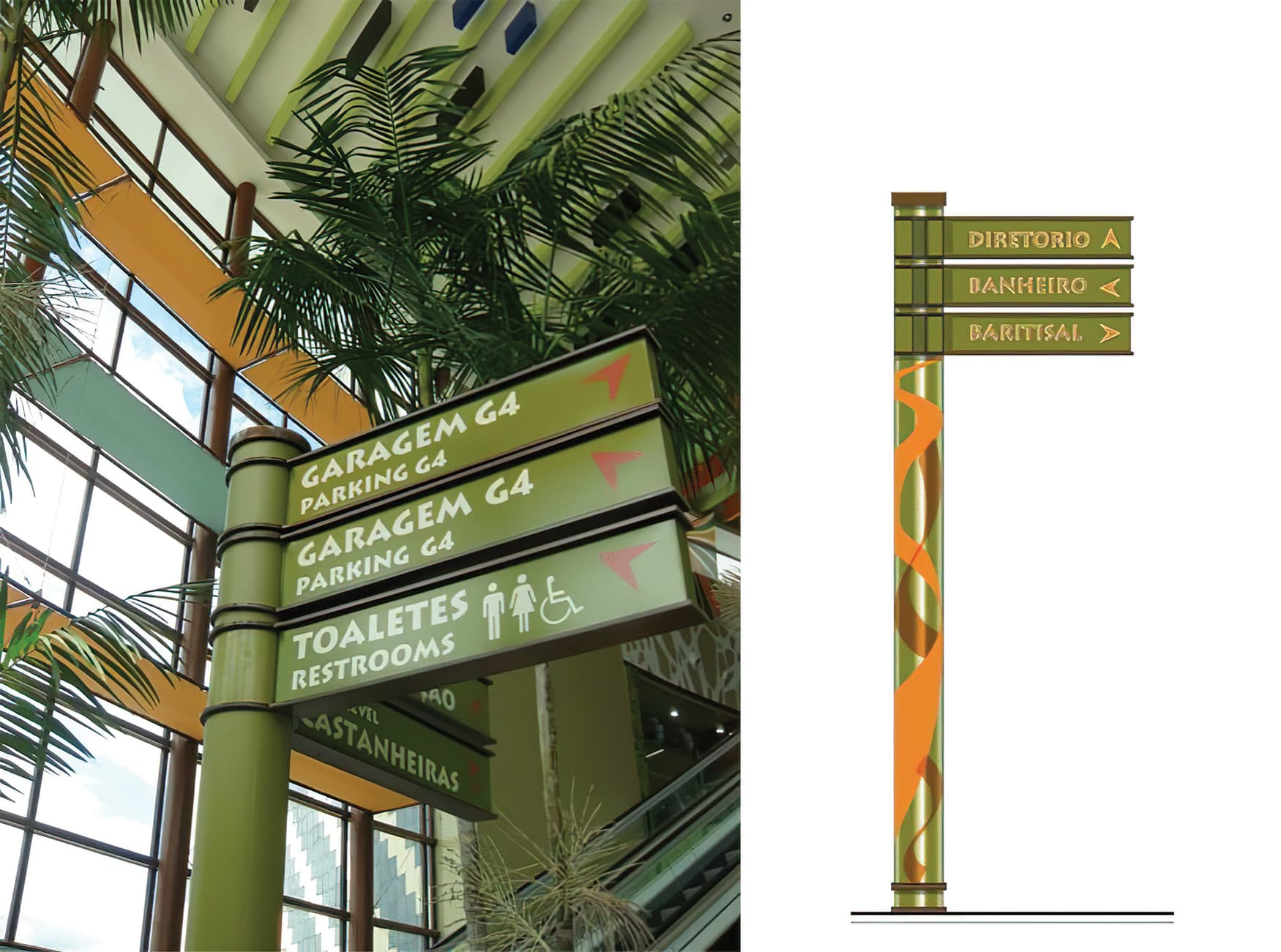 Manauara Shopping, a retail destination project located in Brazil. Directional Signage. Wayfinding Design.