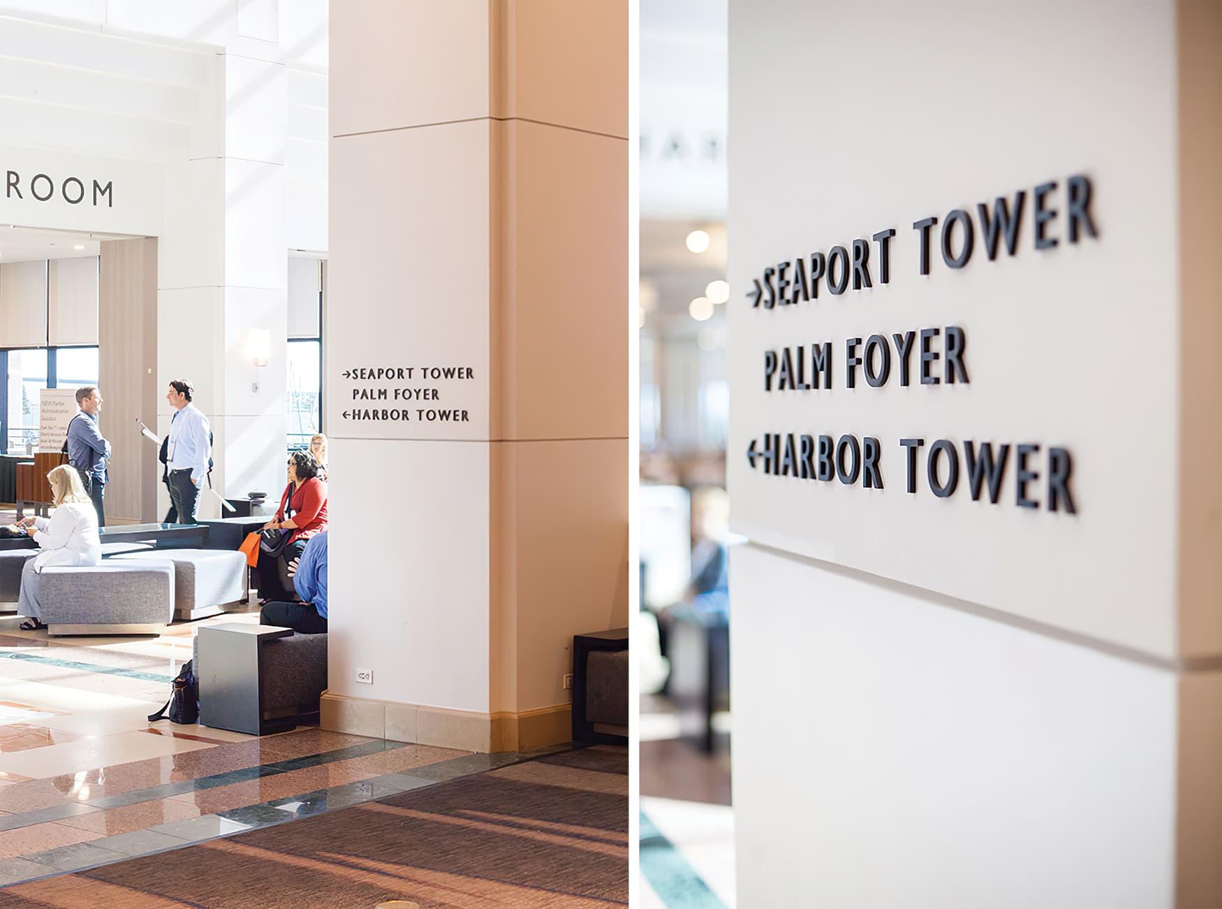 Manchester Grand Hyatt, located in San Diego, California. Hospitality Design. RSM Design prepared an interior wayfinding system.