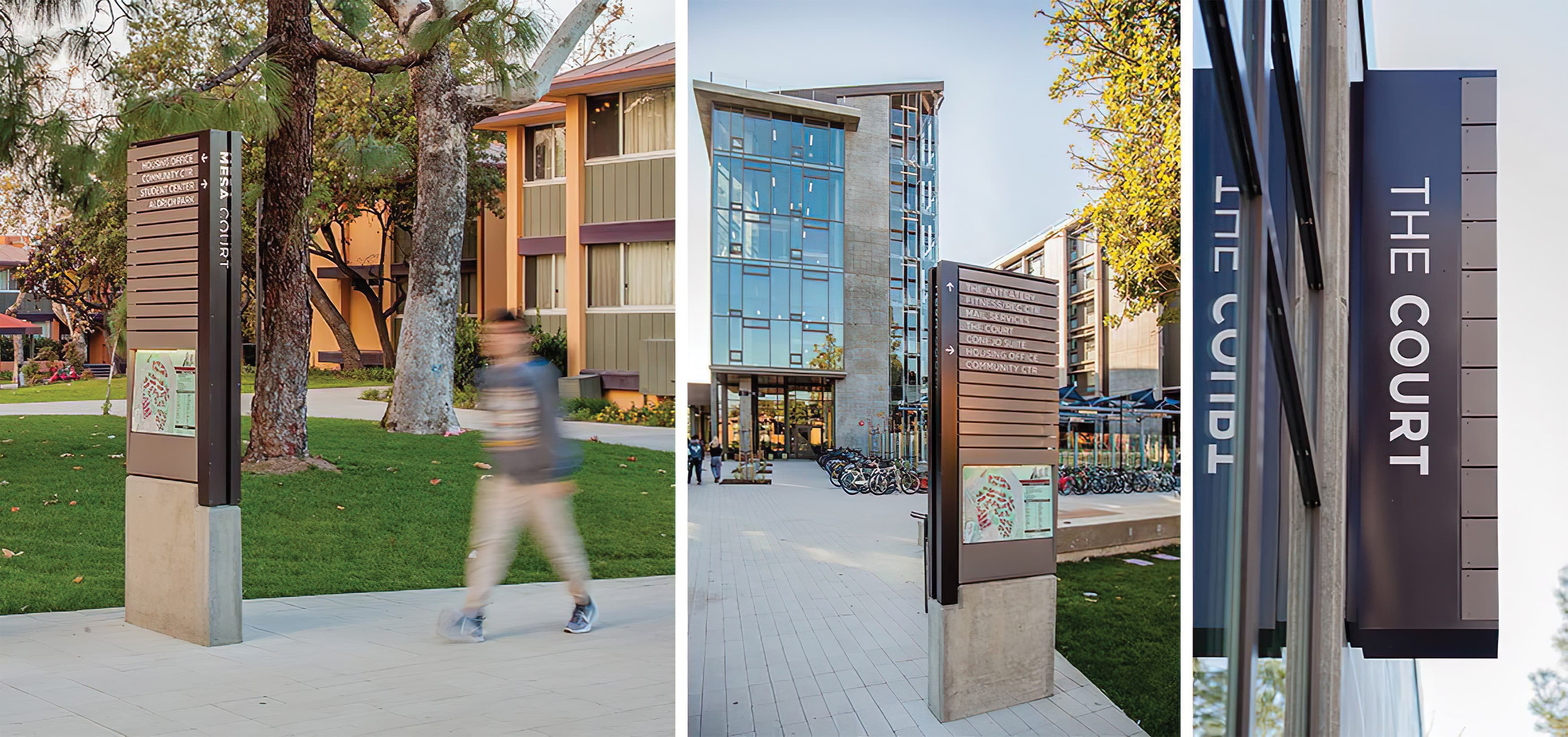 Mesa Court, located in University of California, Irvine campus. On-campus residential buildings. Freestanding Pedestrian Directional Wayfinding Design. Building Identity Blade Sign.