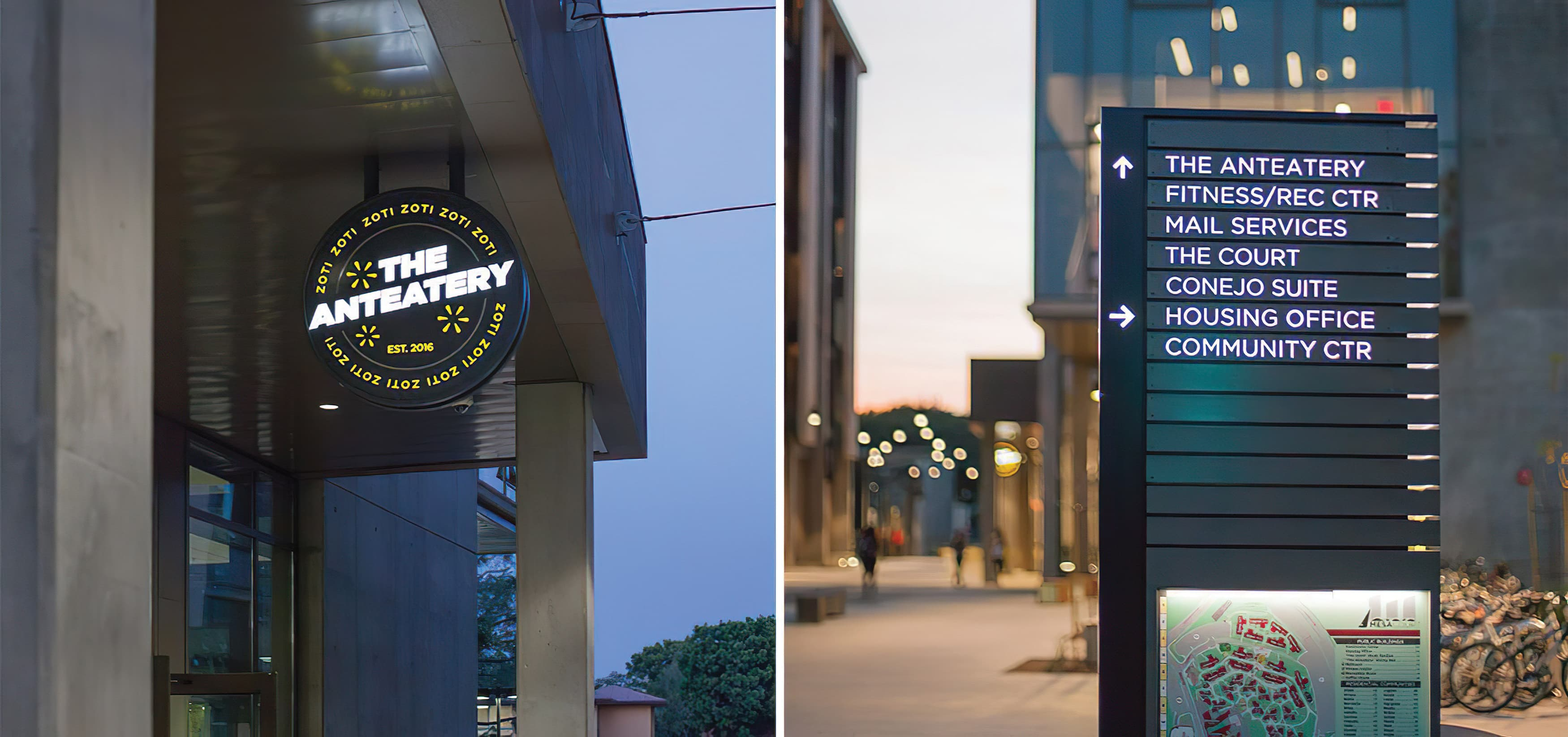 Mesa Court, located in University of California, Irvine campus. On-campus residential buildings. Cafeteria Identity Blade Sign. Pedestrian Wayfinding Design.