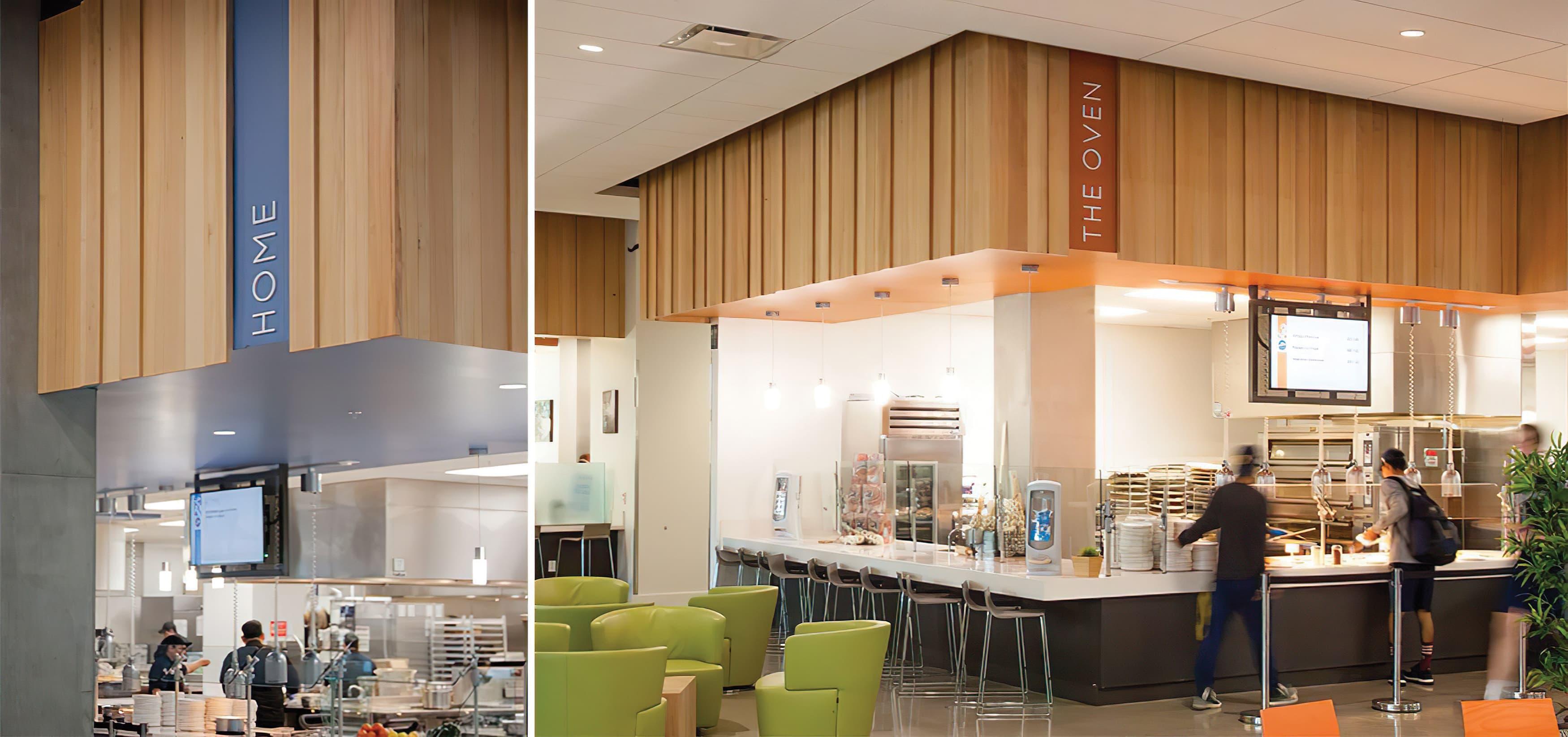 Mesa Court, located in University of California, Irvine campus. On-campus residential buildings. Cafeteria Interior Design. Signage Design.