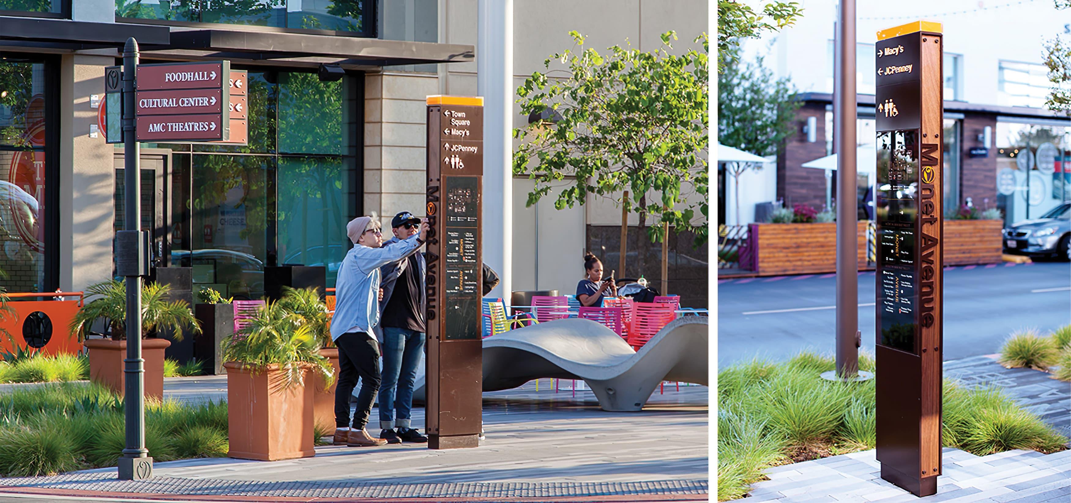 Monet Avenue shopping district pedestrian wayfinding design