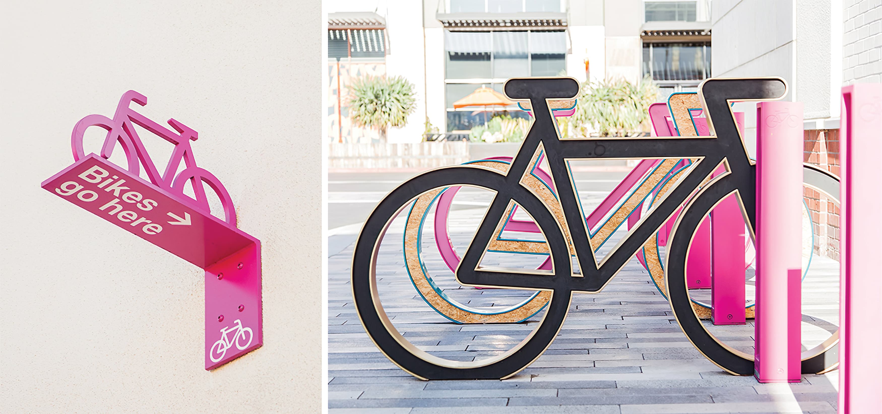 Monet Avenue shopping district bike parking amenity design