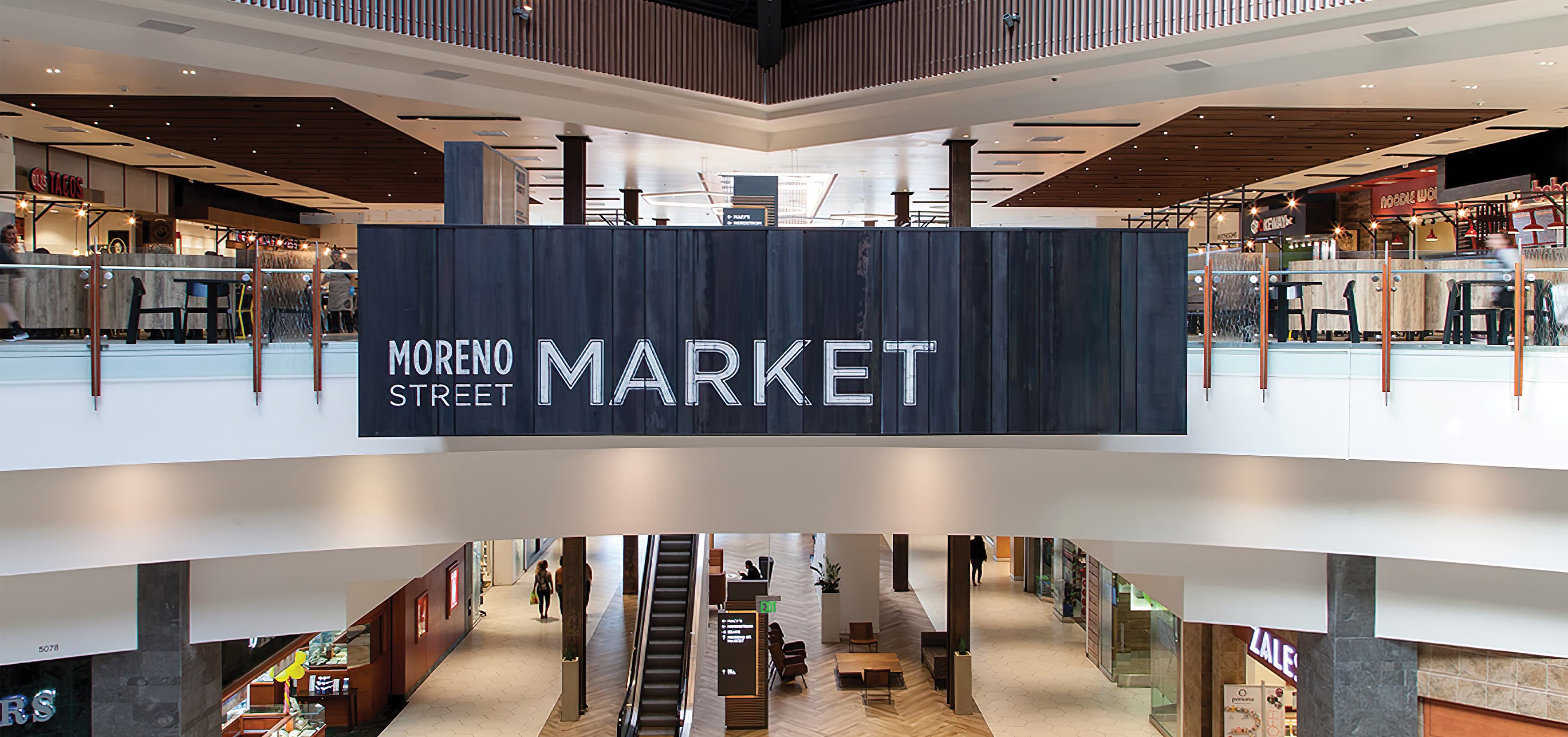 Montclair Place, located in Montclair, California. A retail development with a food hall. Retail Design. Entertainment Design. Wayfinding, Identity, Placemaking Design.