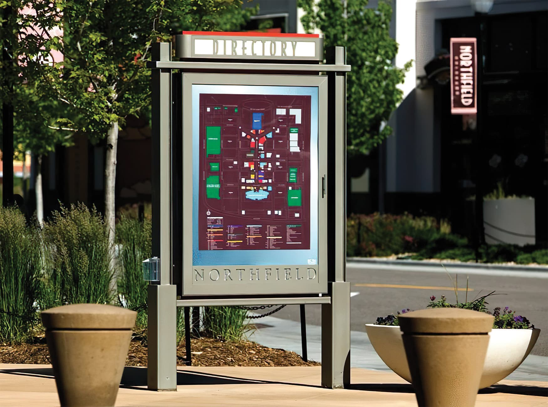 Northfield Stapleton Mall, an open-air retail center near Denver, Colorado. Pedestrian Wayfinding Design.