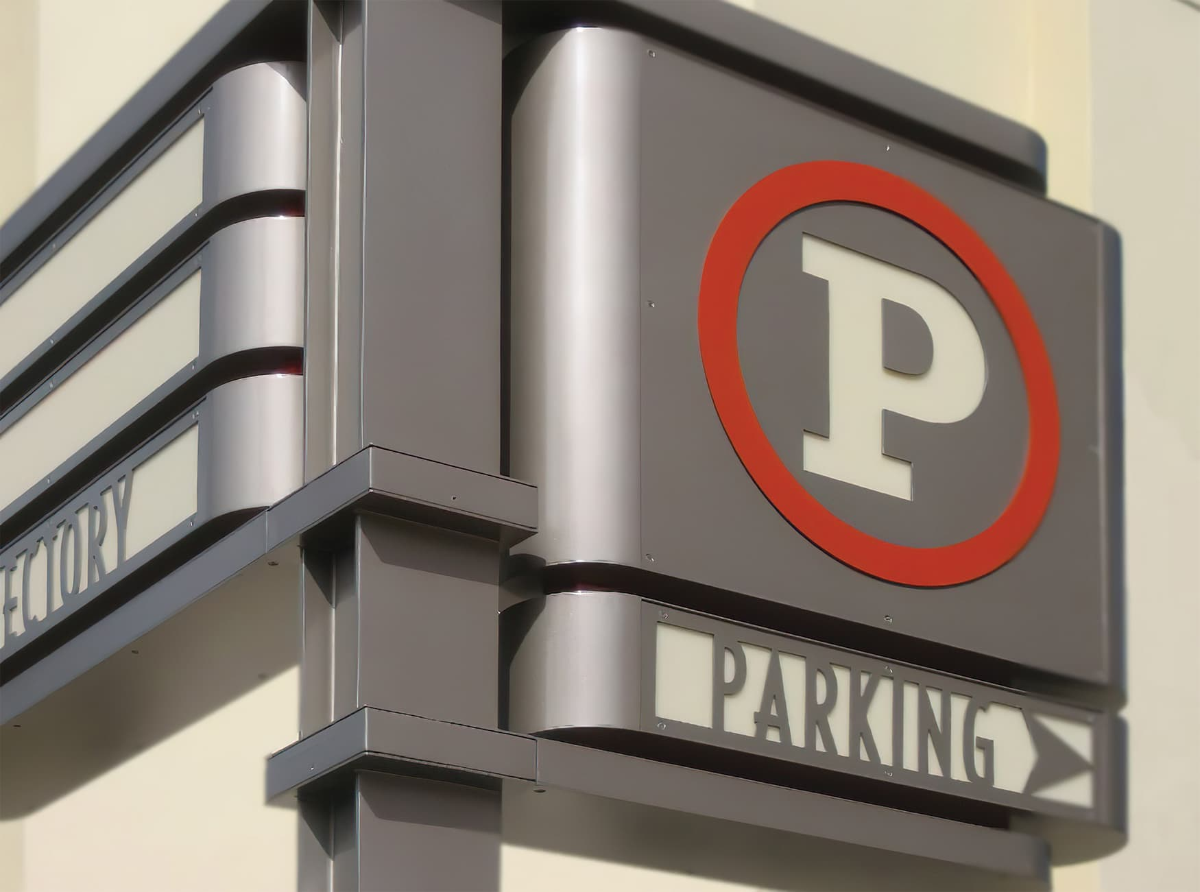 Northfield Stapleton Mall, an open-air retail center near Denver, Colorado. Parking Signage. Wayfinding Signage.