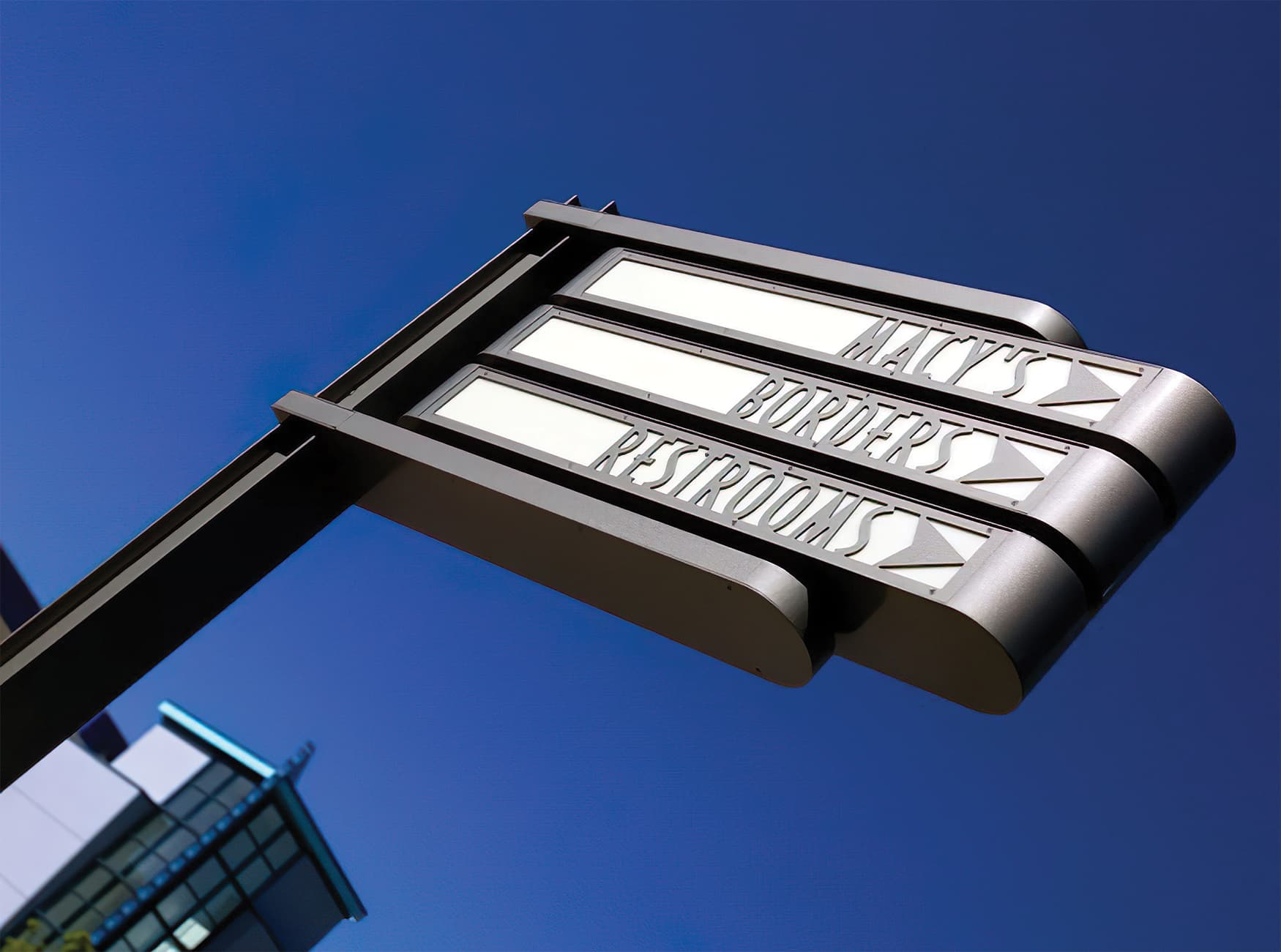 Northfield Stapleton Mall, an open-air retail center near Denver, Colorado. Parking Signage. Wayfinding Signage.
