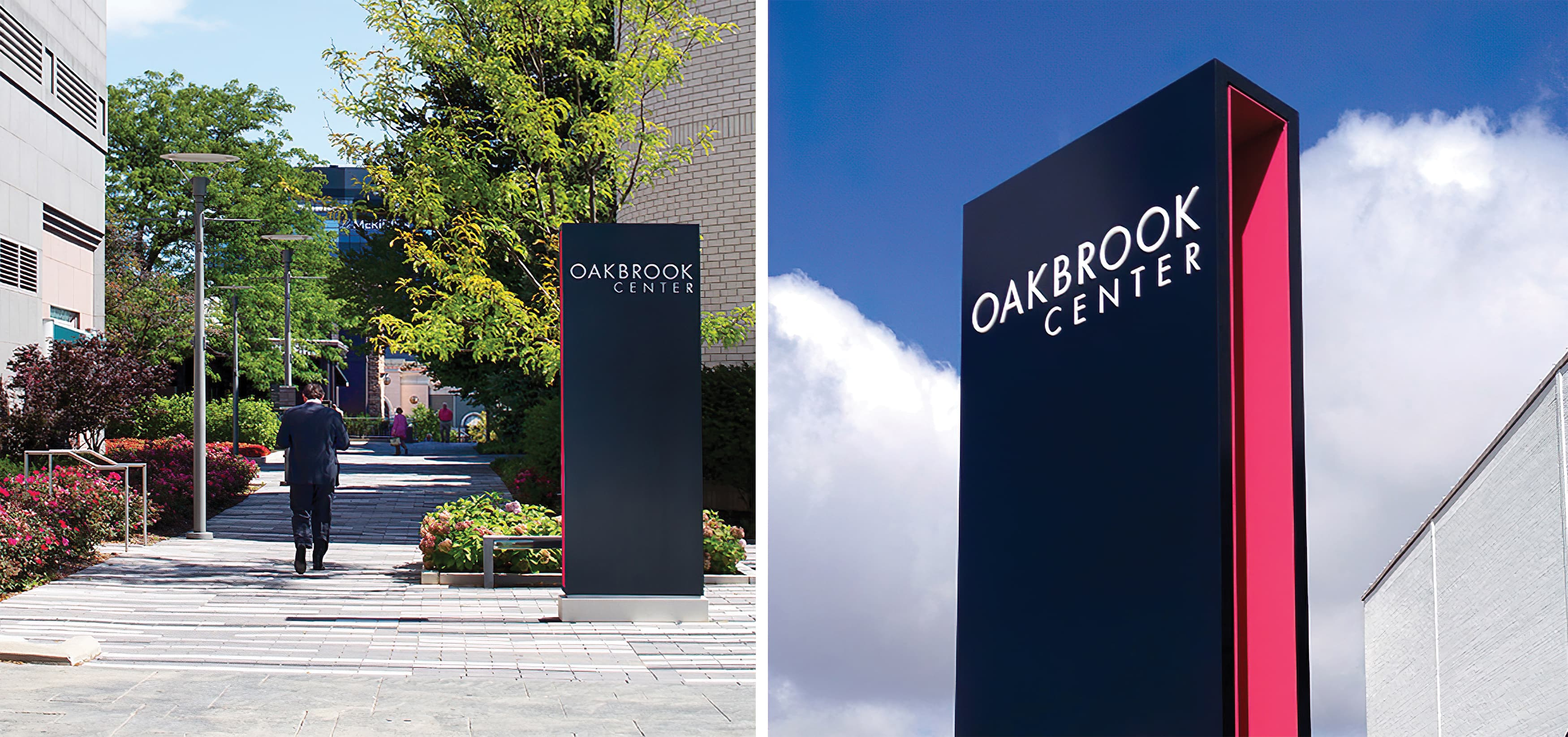 Oakbrook Center, a mixed-use shopping center in Oakbrook, Illinois. Project Identity Signage.