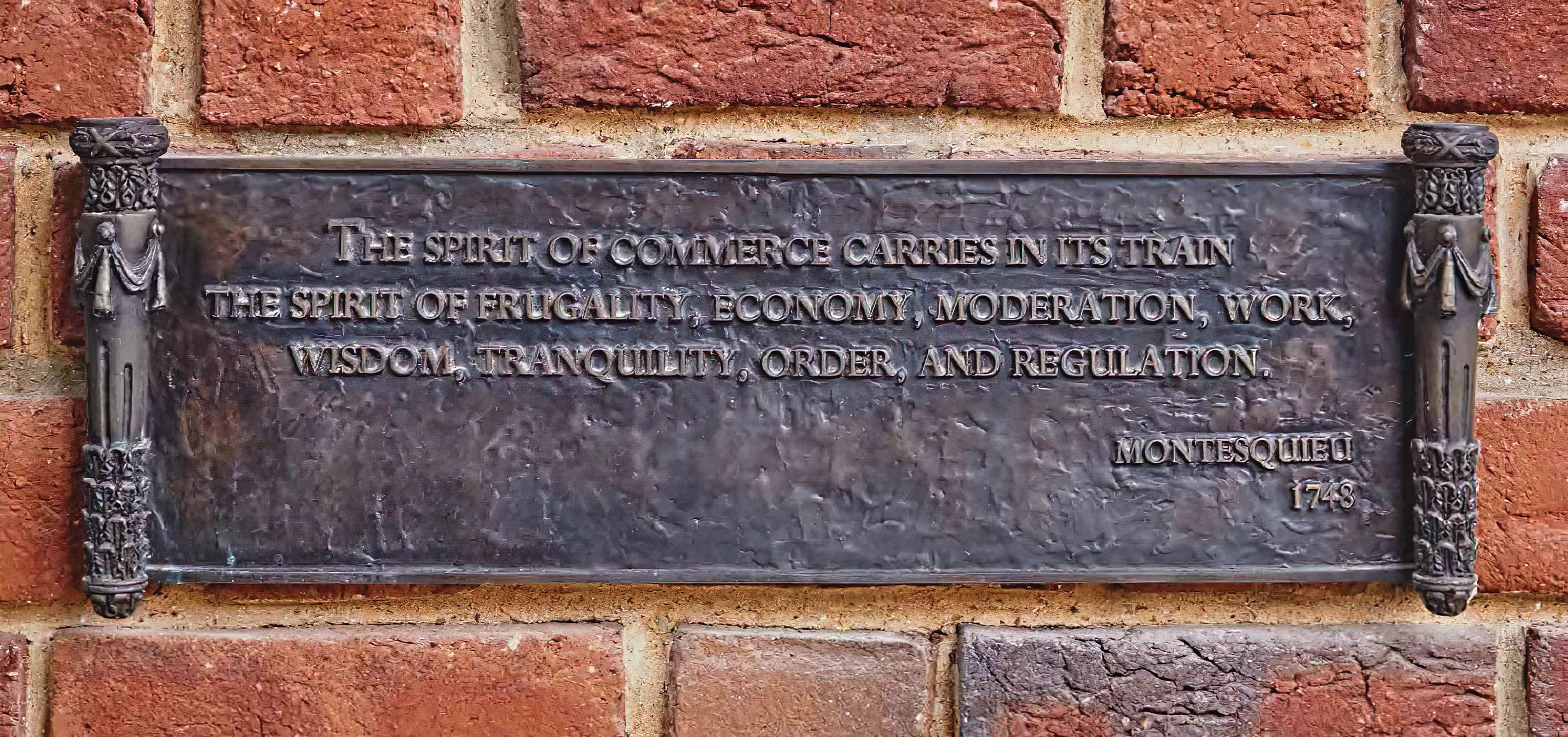 Old Parkland Campus in Dallas, Texas. Neo-Classical Architecture. Montesquieu Quote on classical styled plaque.