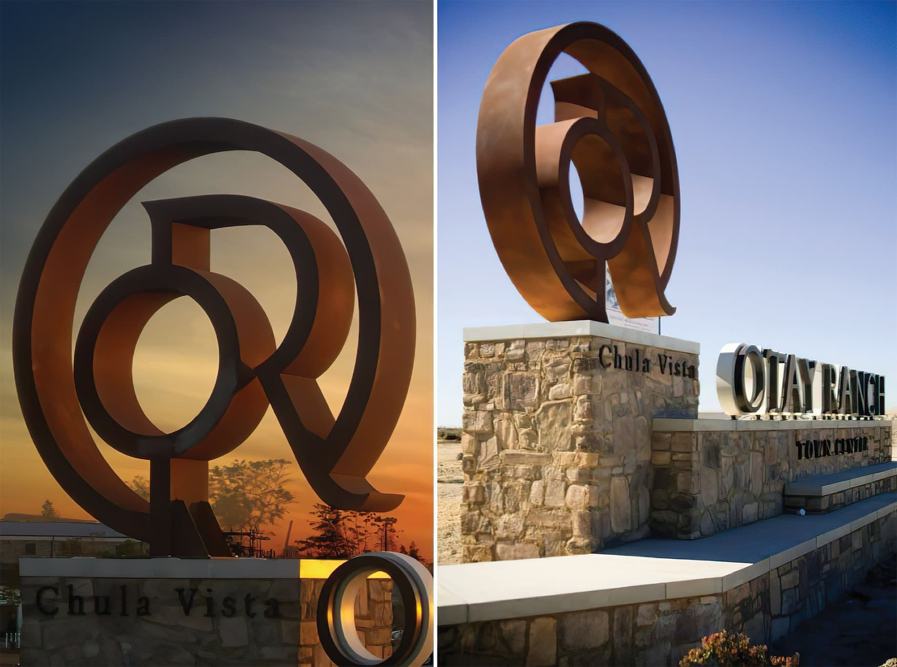 Otay Ranch, an outdoor retail development. Project Identity Signage. Project Monument Signage.