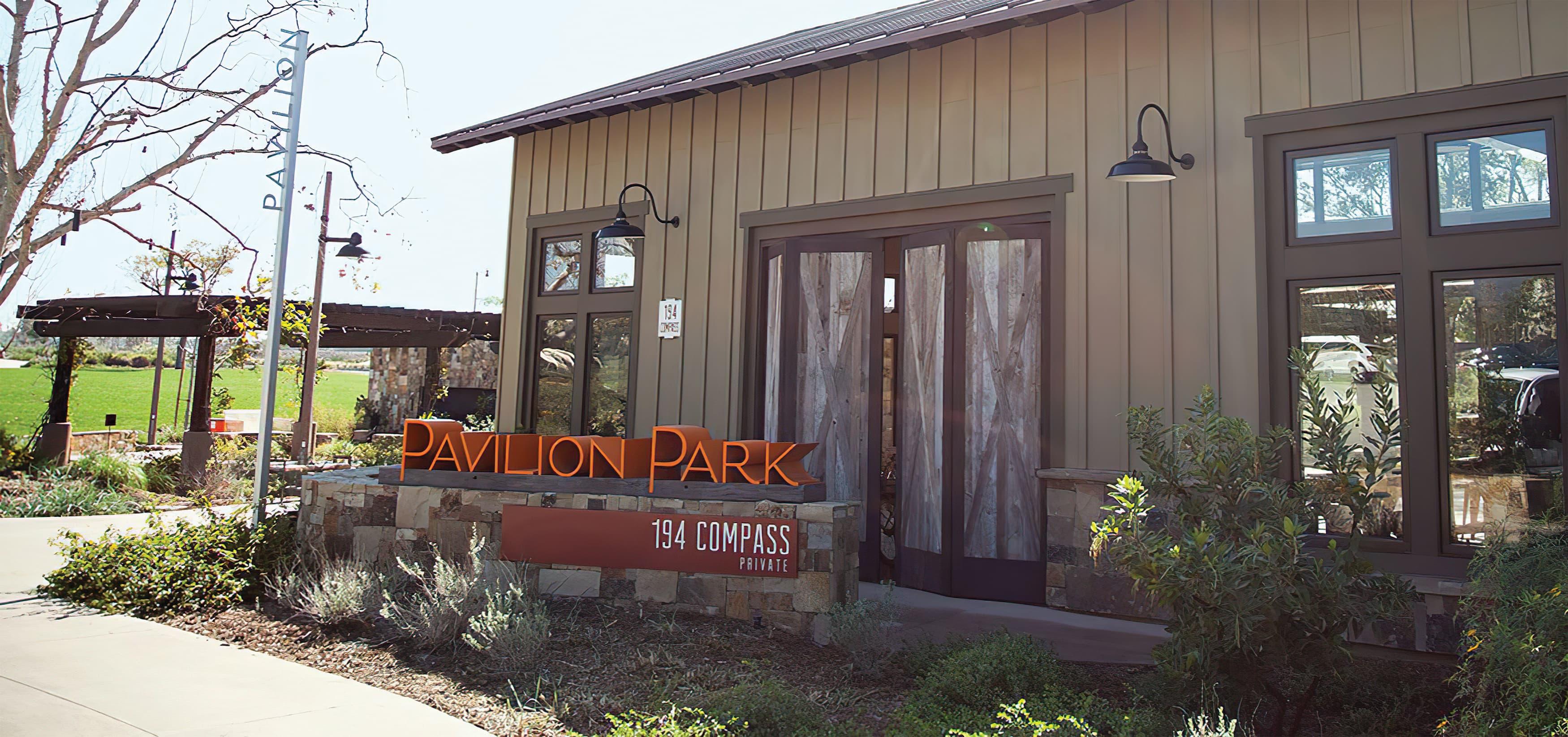 Pavilion Park. Irvine Great Park. Residential Community Park Design. Park Signage.