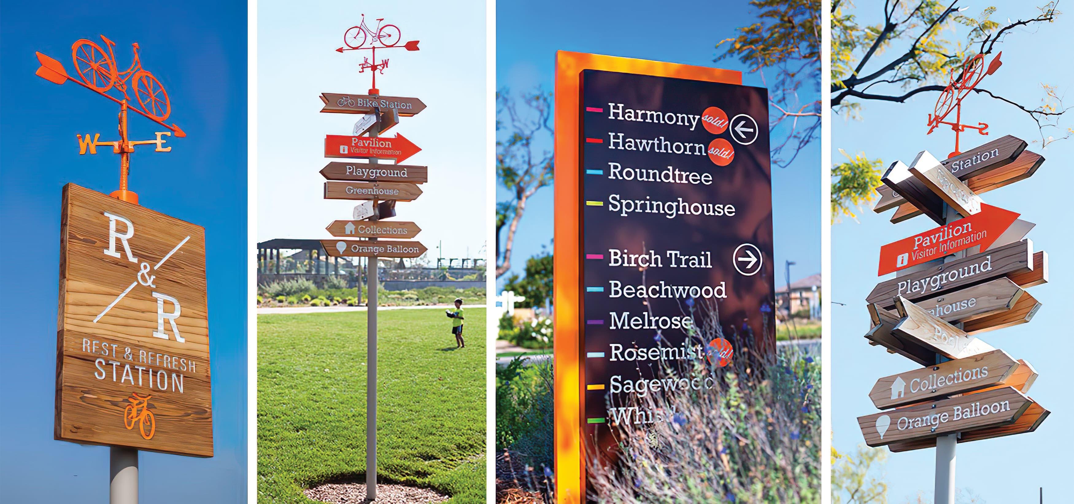 Pavilion Park. Irvine Great Park. Residential Community Park Design. Park Pedestrian Wayfinding Signage.