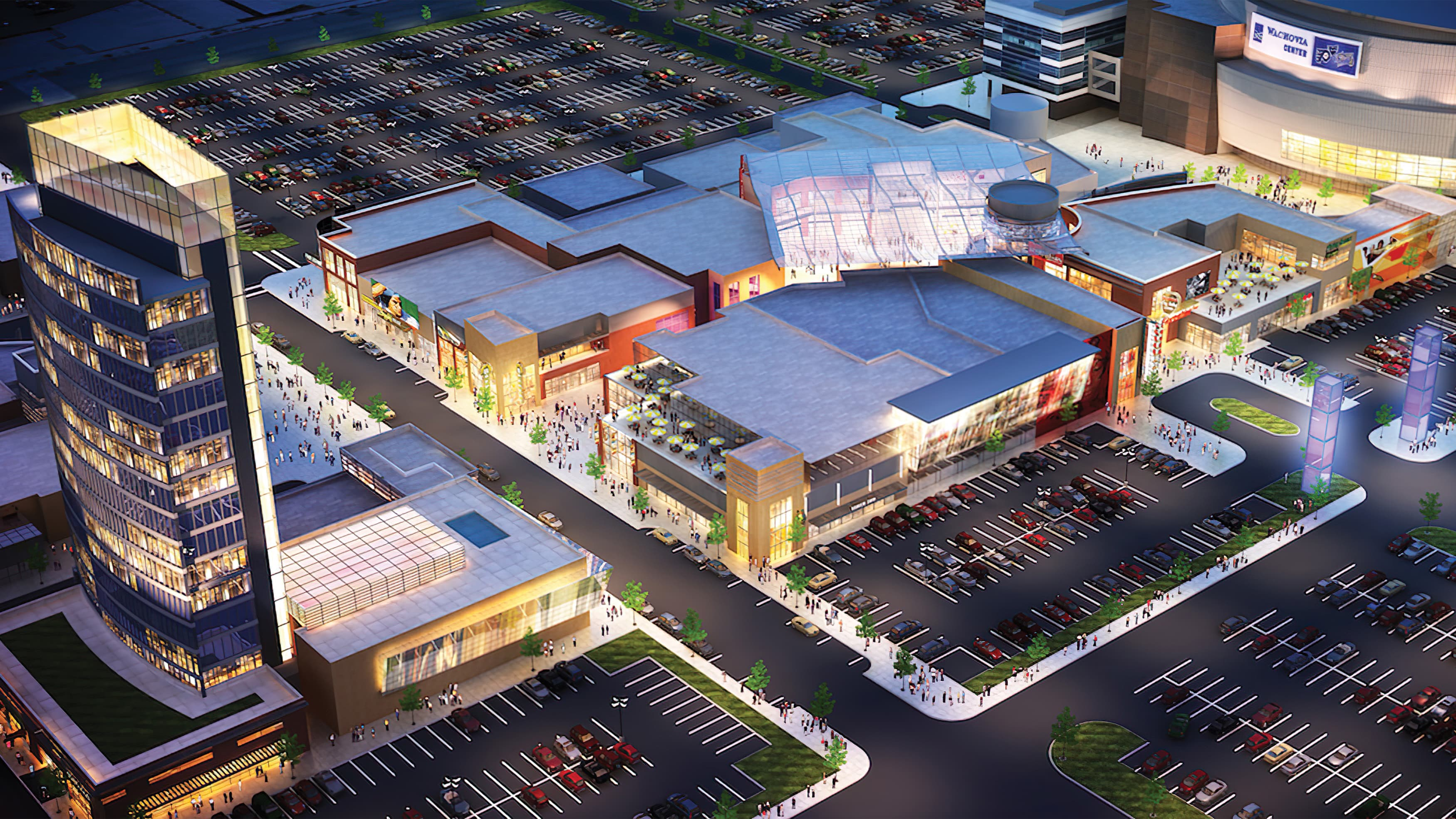 Architect's rendering of busy outdoor shopping center at dusk