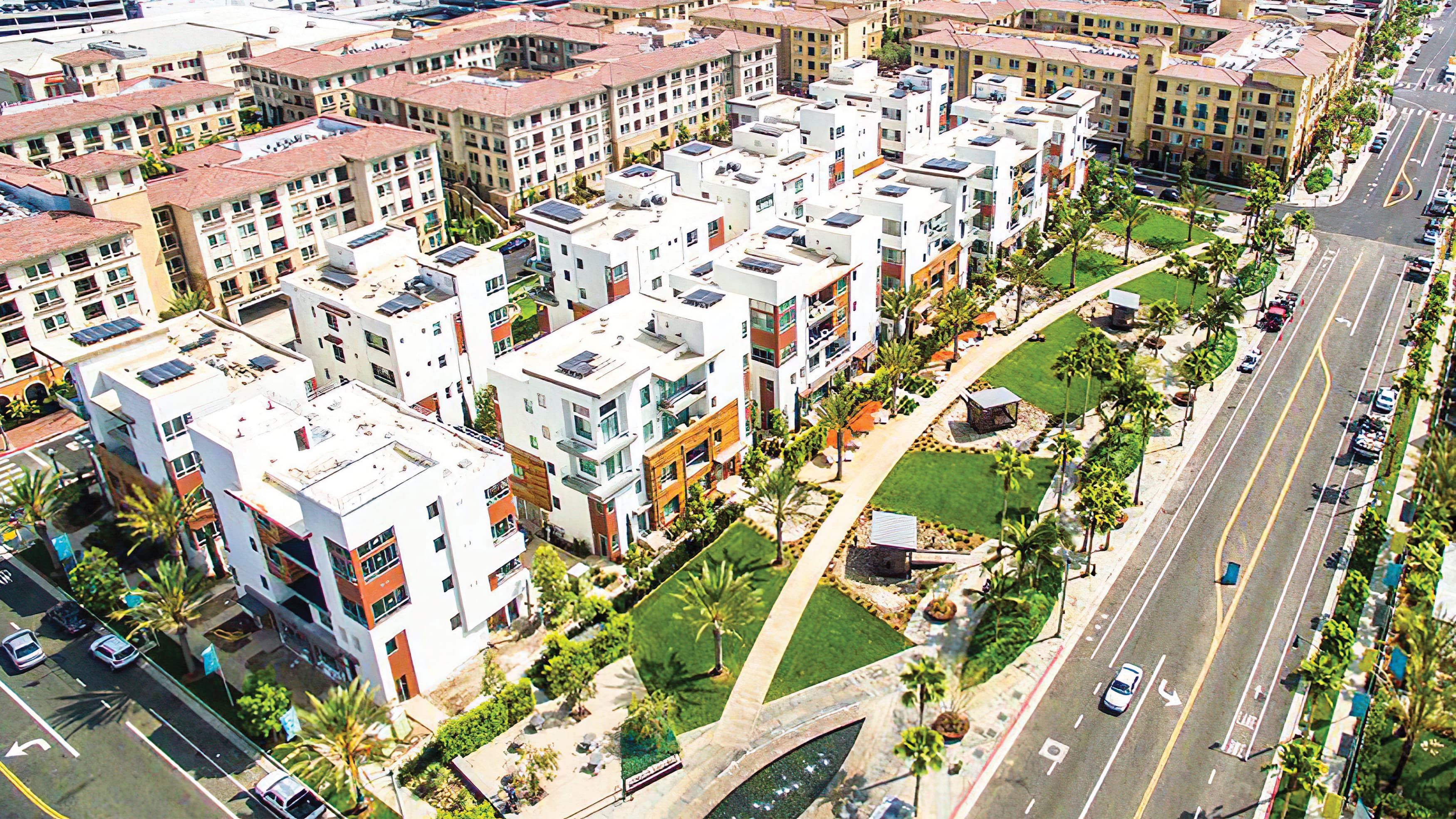 Architectural aerial render of multi-family housing units.