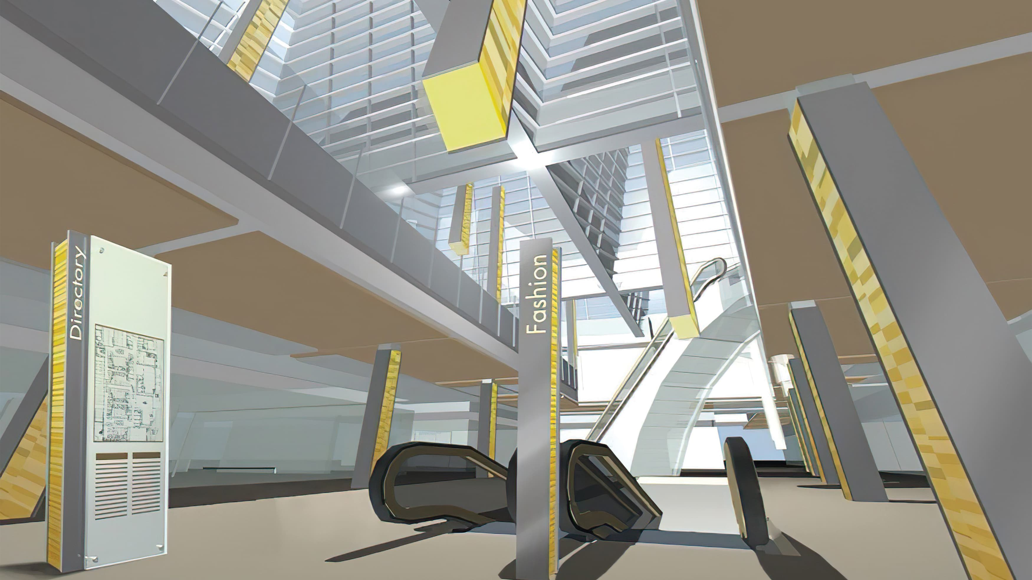 Interior architectural rendering with standing pedestrian directory featuring site map