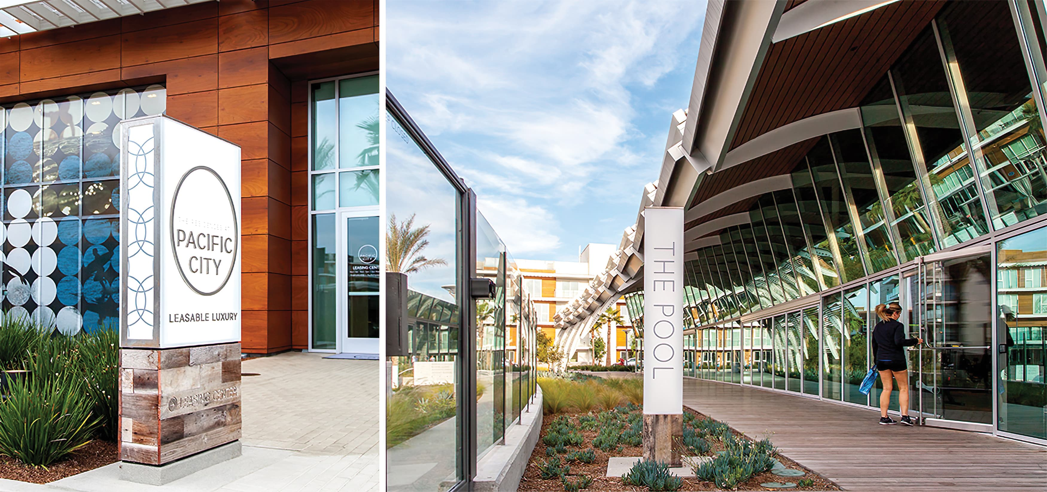 Pacific City, a luxury residential community in Huntington Beach, California. Project Identity and Amenity Identity Signage.