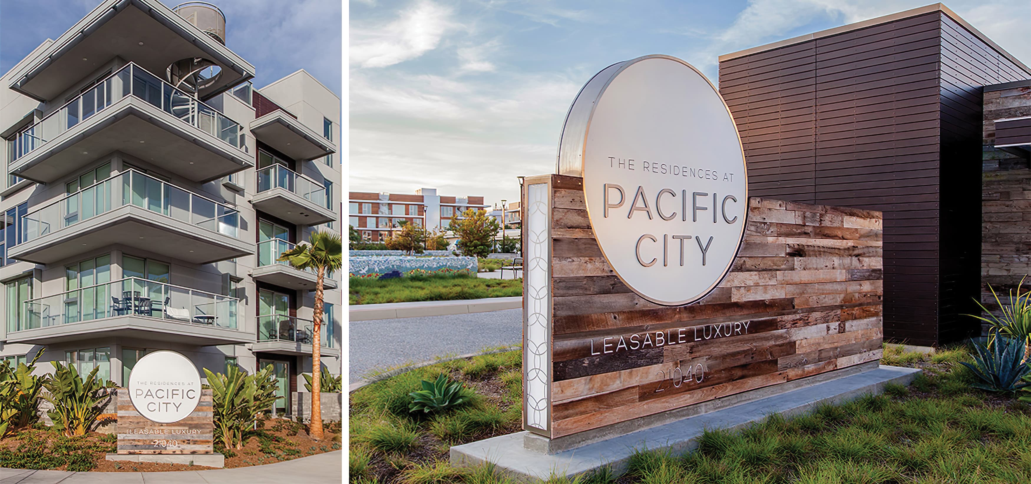 Pacific City, a luxury residential community in Huntington Beach, California. Project Identity Monument.