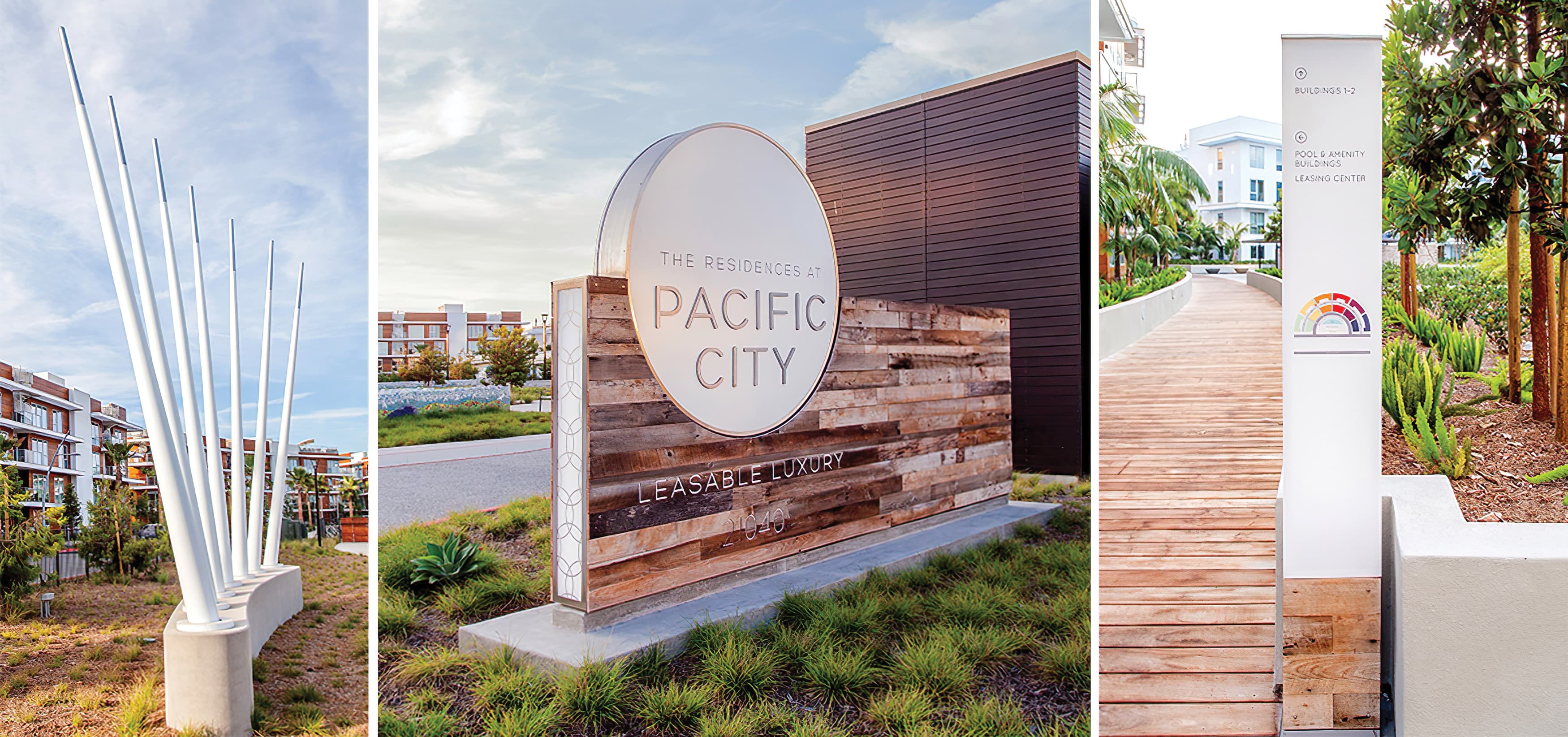 Pacific City, a luxury residential community in Huntington Beach, California. Project Identity Monument. Pedestrian Wayfinding Design. Public Art and Wayfinding.