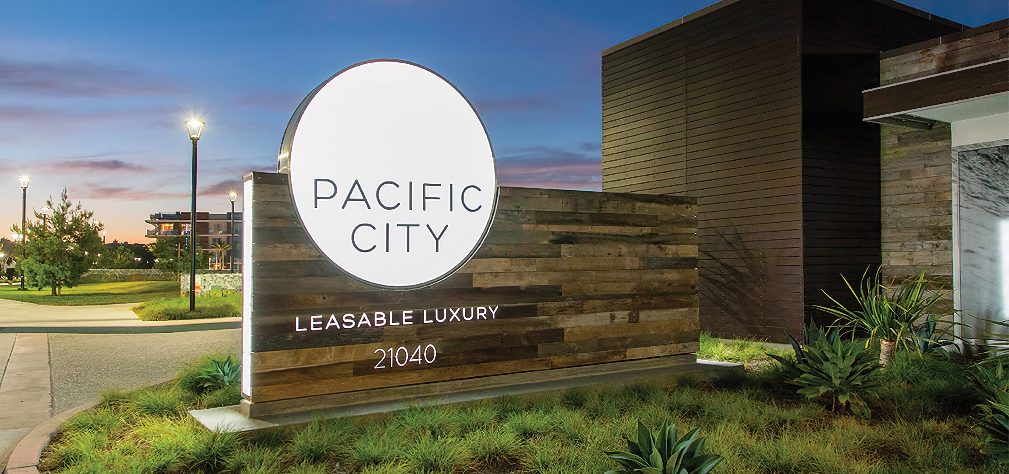 Pacific City, a luxury residential community in Huntington Beach, California. Project Identity Monument
