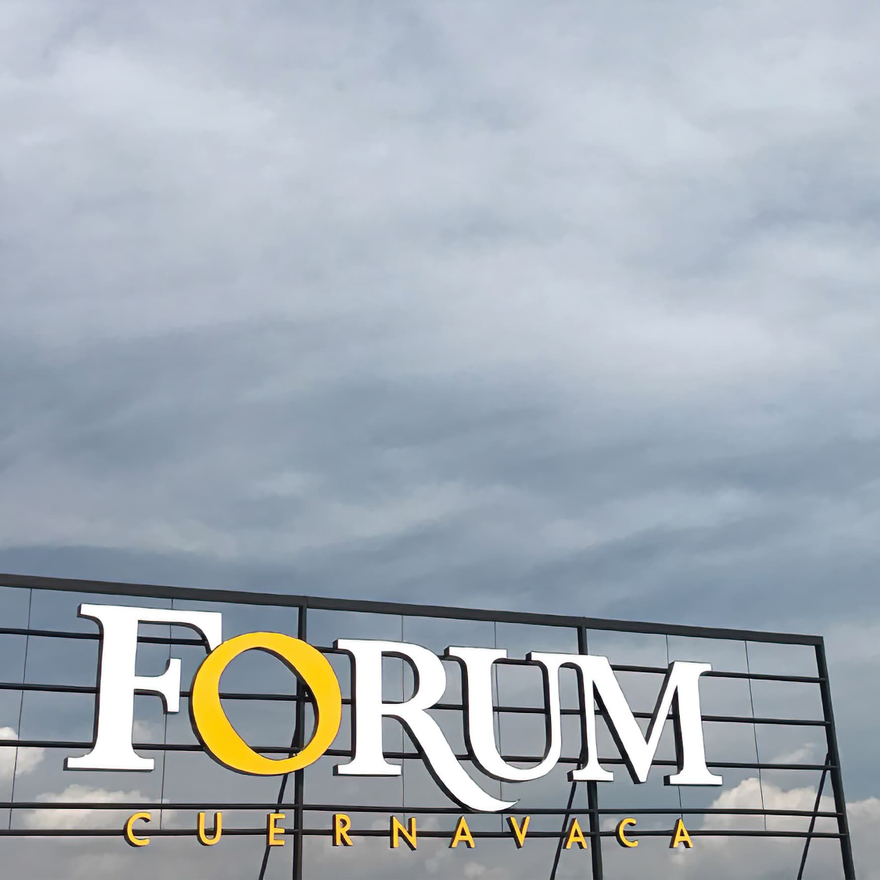 A photograph of a rooftop identity sign designed for Forum Curenavaca