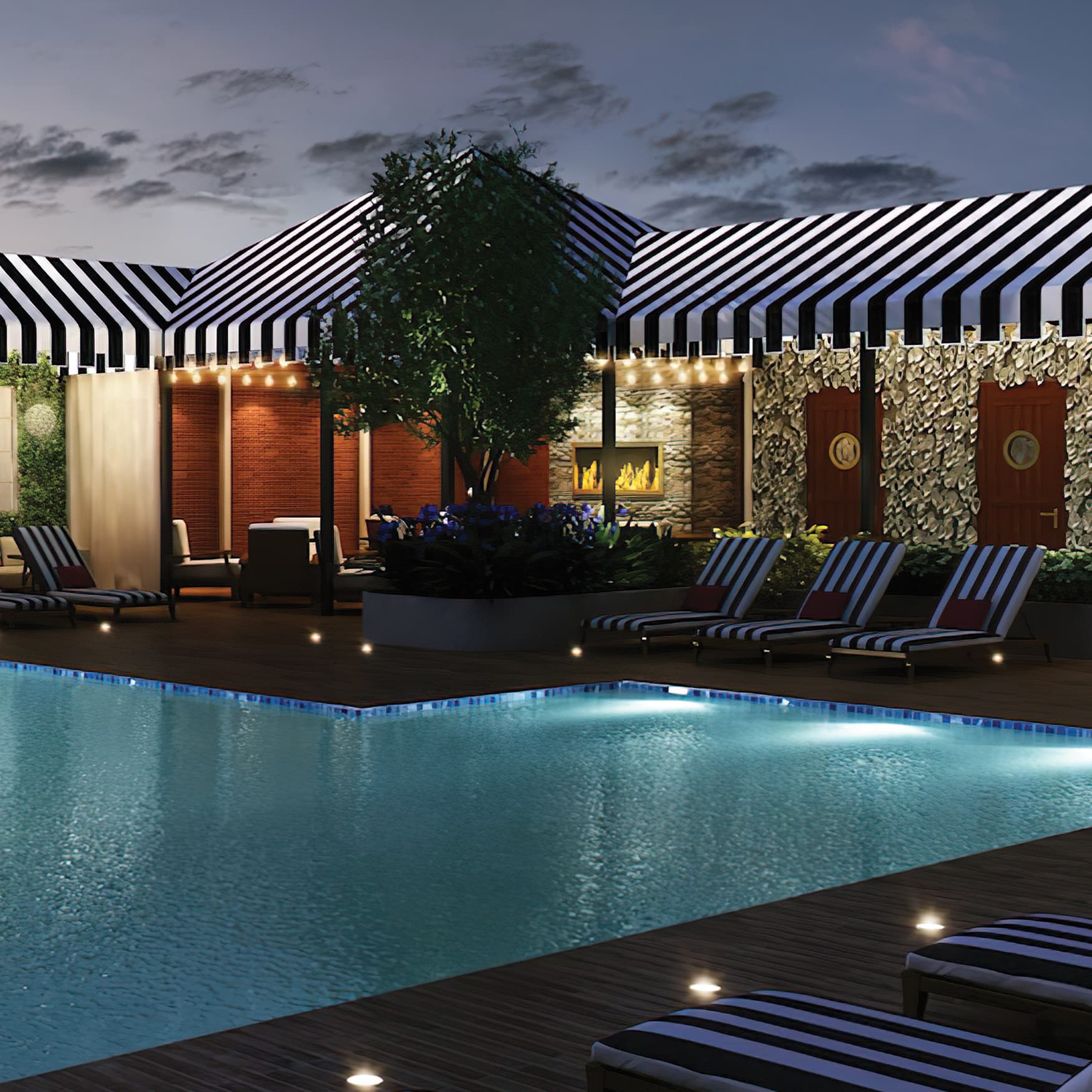 A rendering of a pool area at the Hotel ZaZa in Houston, Texas.