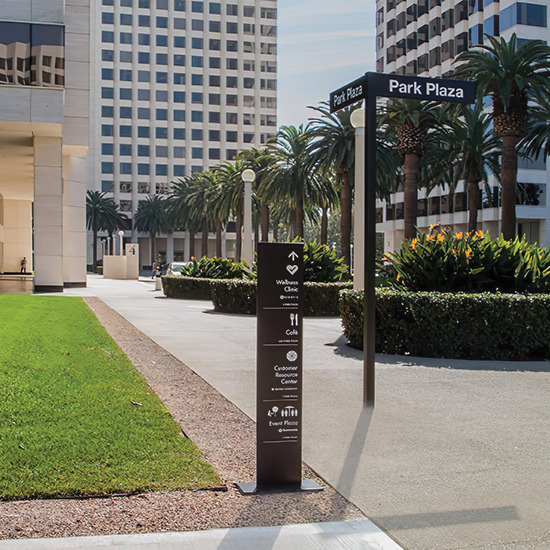 A photograph of wayfinding signage designed for Irvine Company offices.