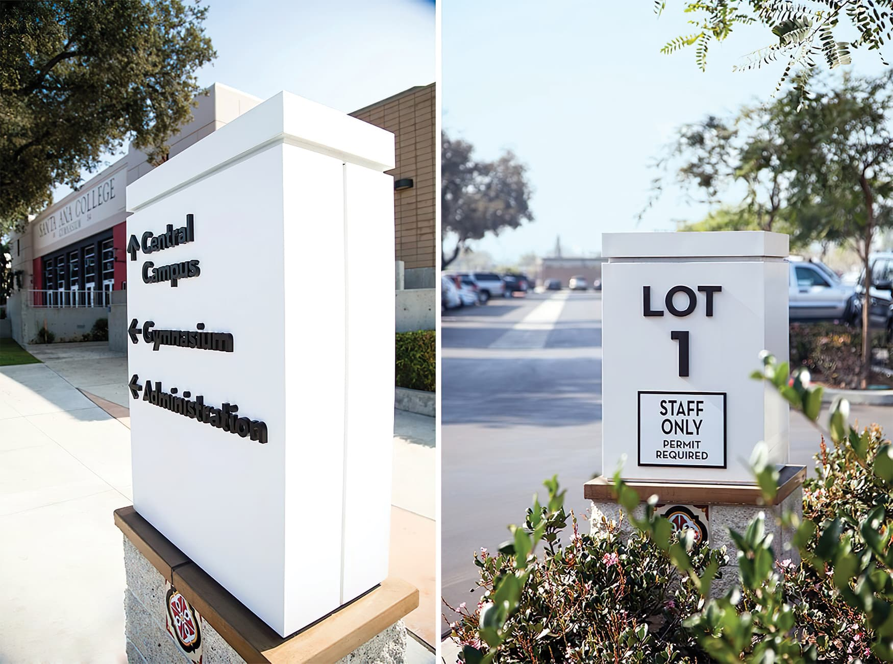 RSM Design worked with Santa Ana College to create a wayfinding system and public art system for the higher-education campus